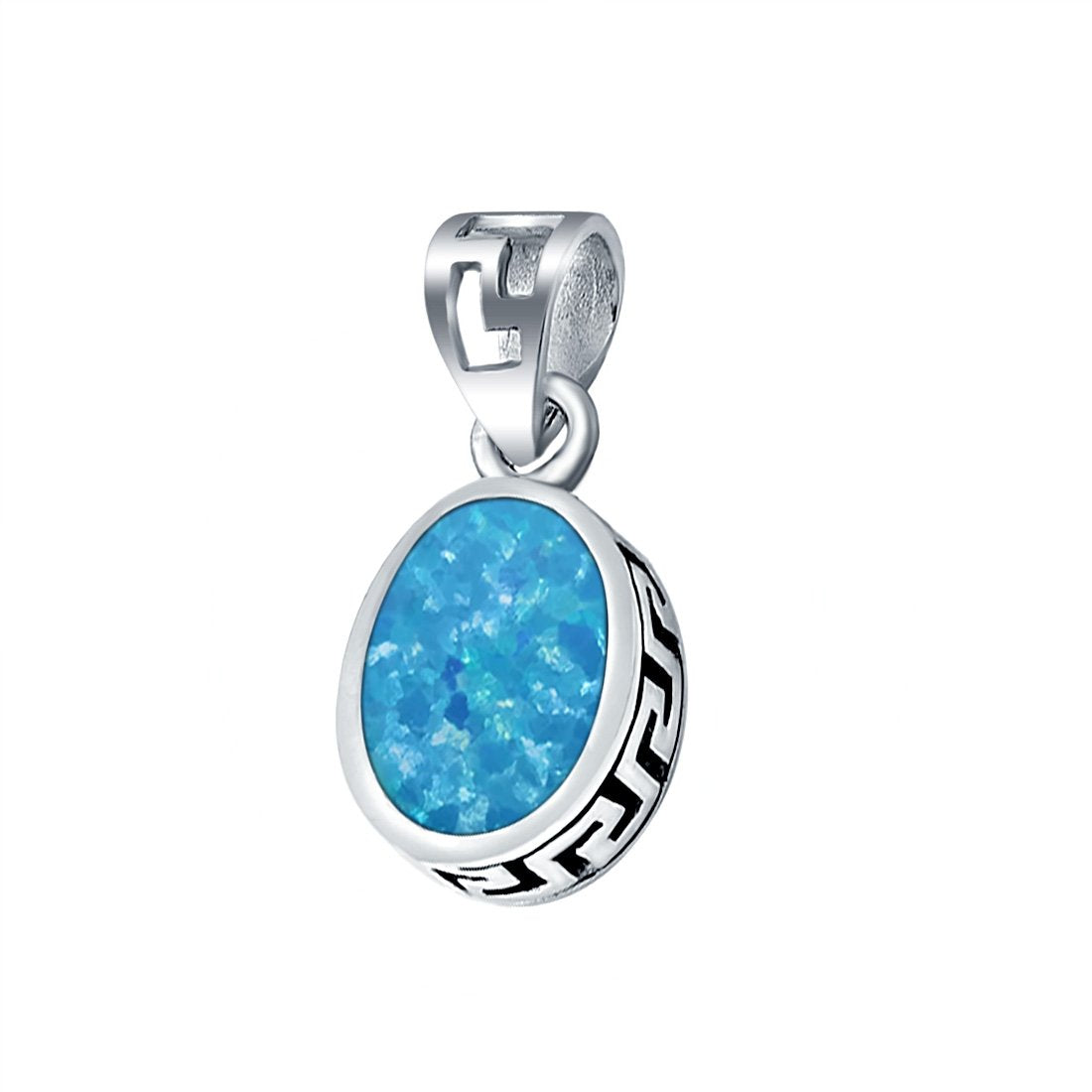 Oval Lab Created Blue Opal Pendant Charm 925 Sterling Silver (11mm)
