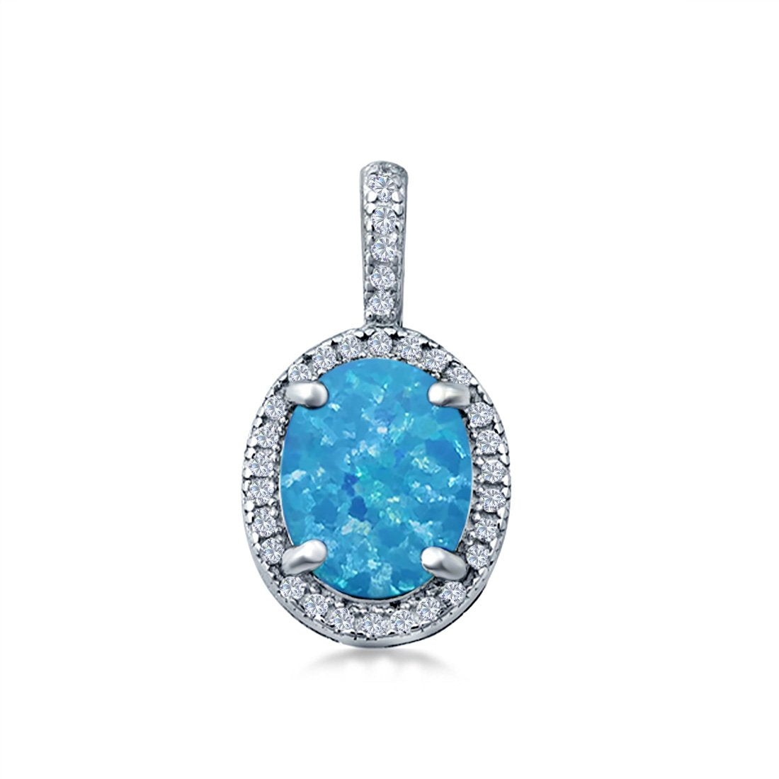Oval Lab Created Blue Opal Pendant Charm Simulated CZ 925 Sterling Silver(20mm)