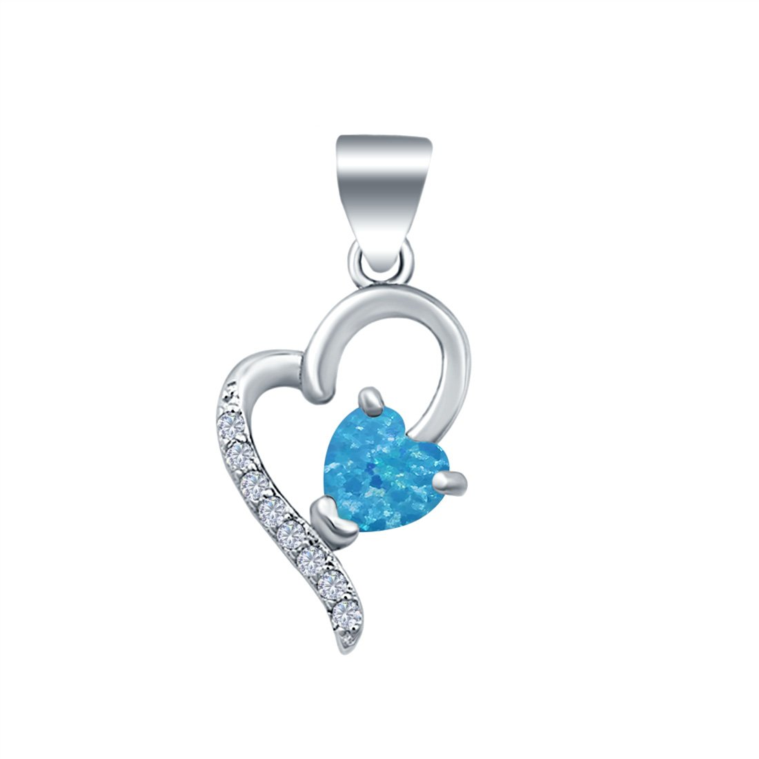 Love Heart Charm Pendant Lab Created Opal 925 Sterling Silver