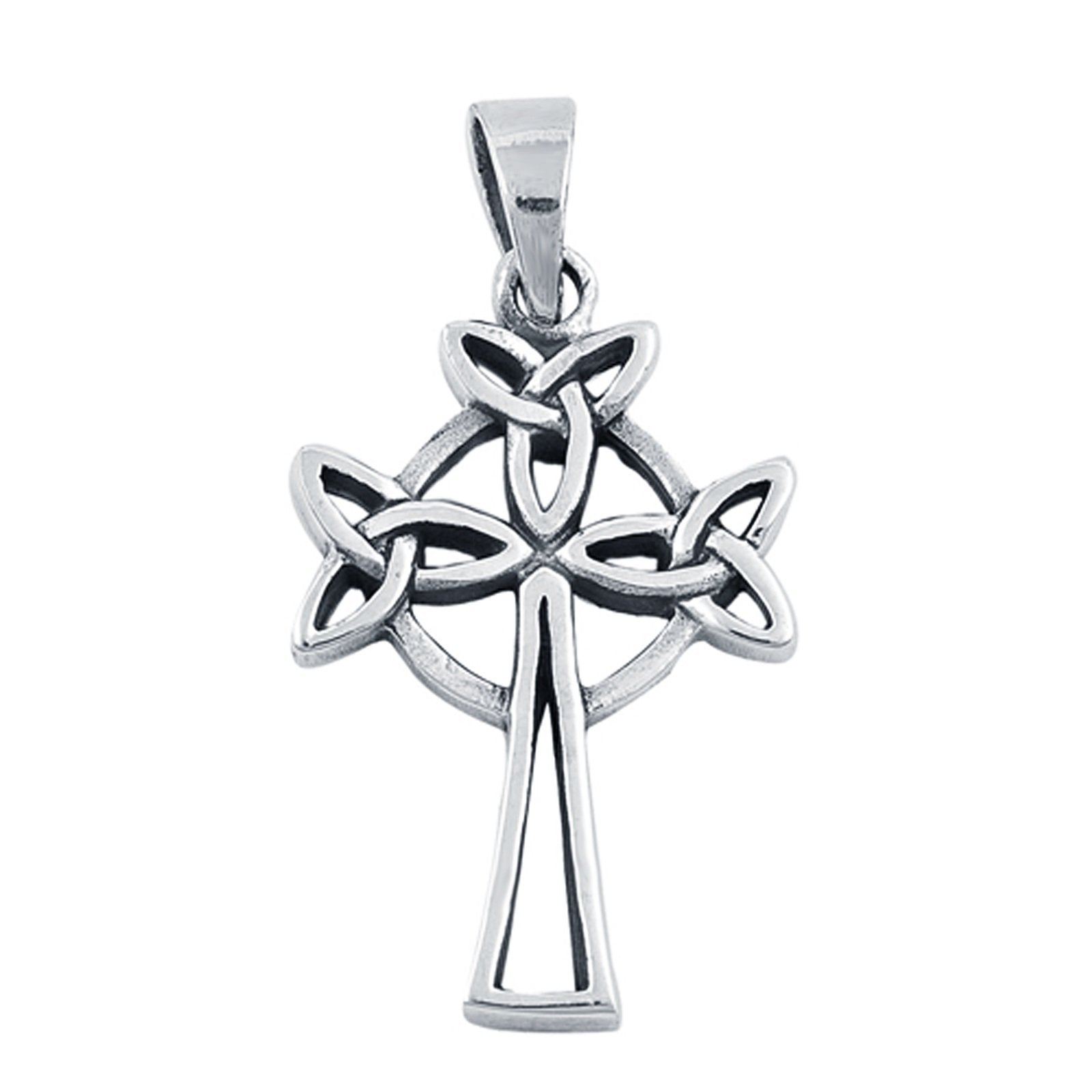 Celtic Design Cross Pendant Charm 925 Sterling Silver