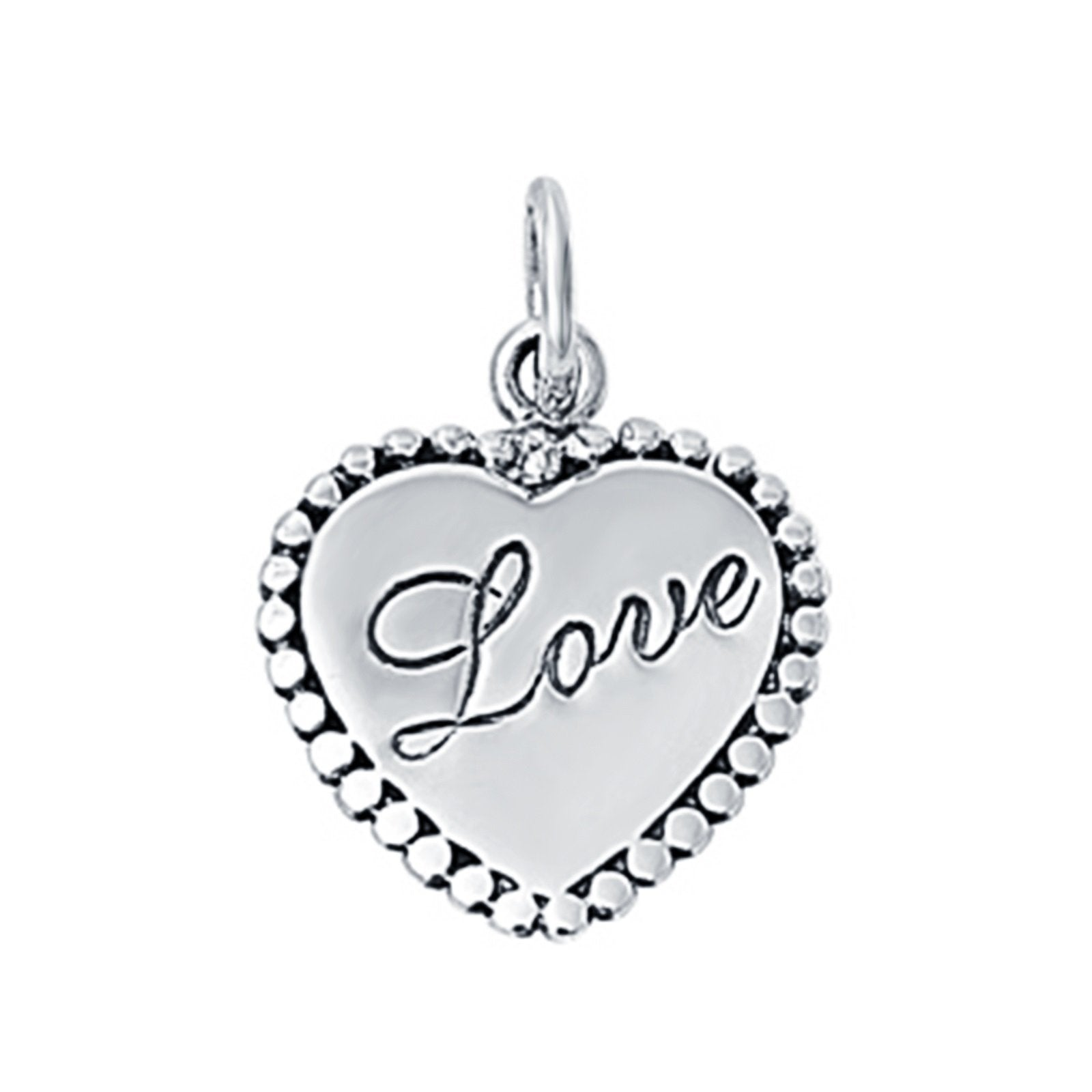 Heart Engraved Love Pendant Charm 925 Sterling Silver