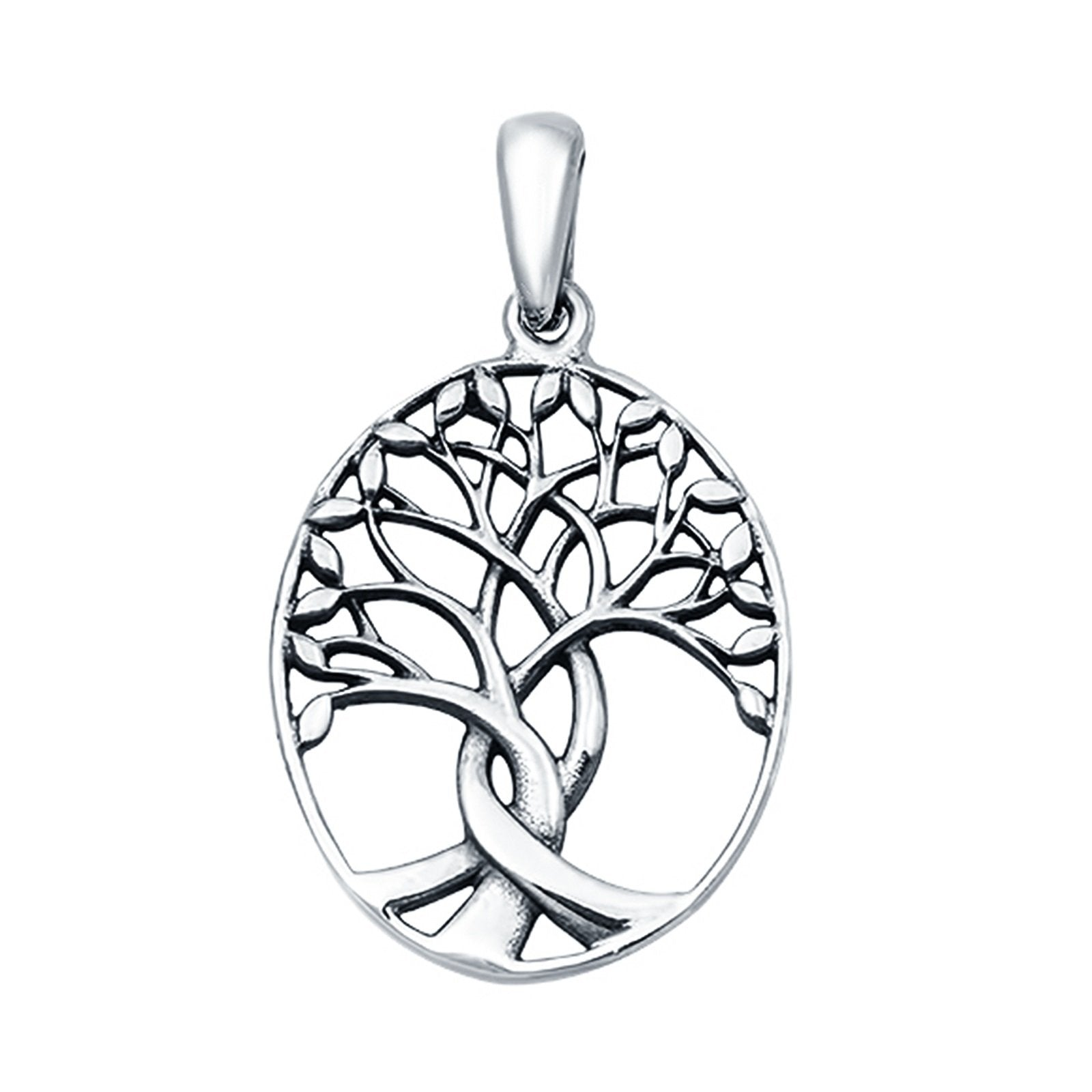 925 Sterling Silver Tree of Life Charm Pendant Oval