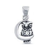 Owl on The Moon Charm Pendant 925 Sterling Silver