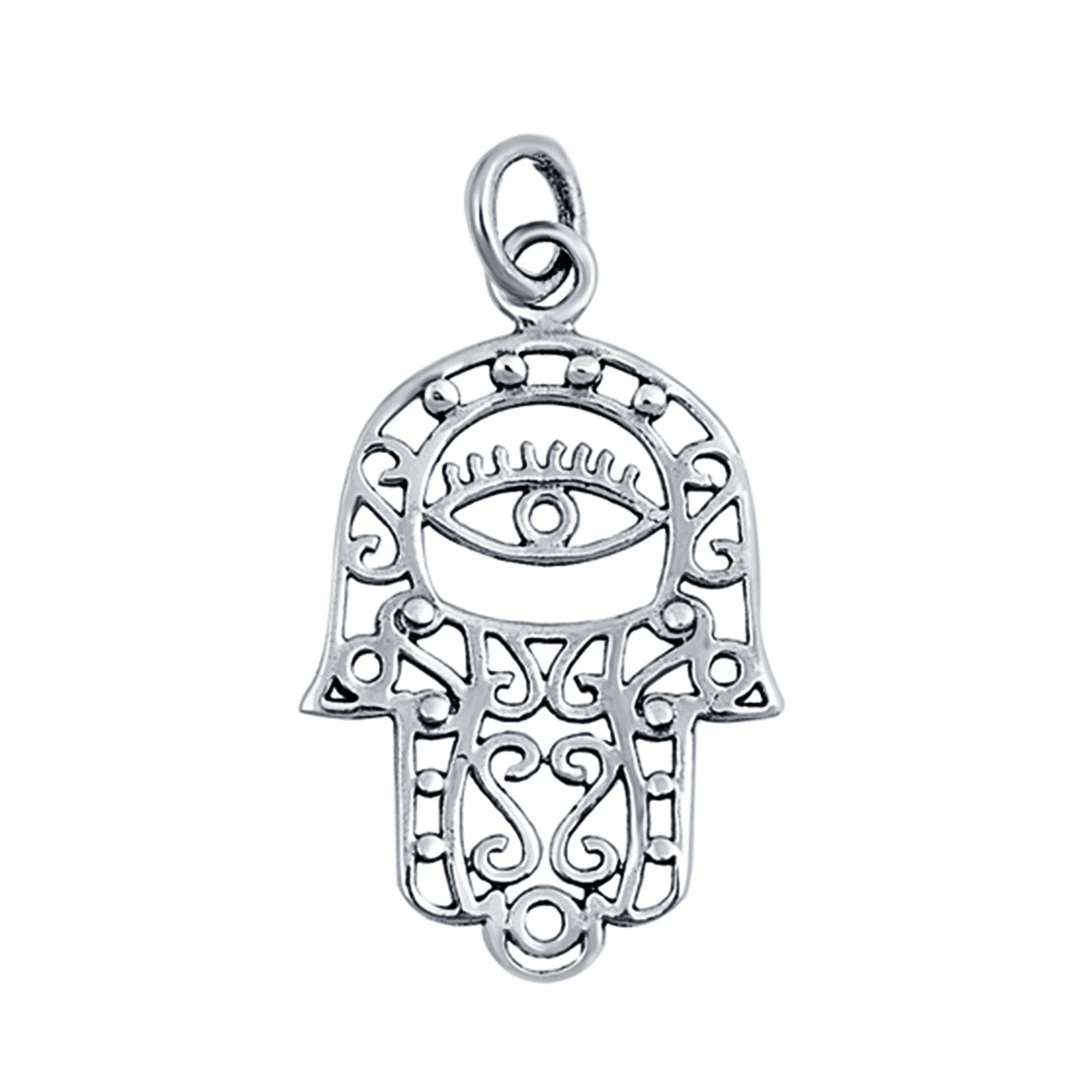 Hamsa All Seeing Eye Pendant Charm 925 Sterling Silver