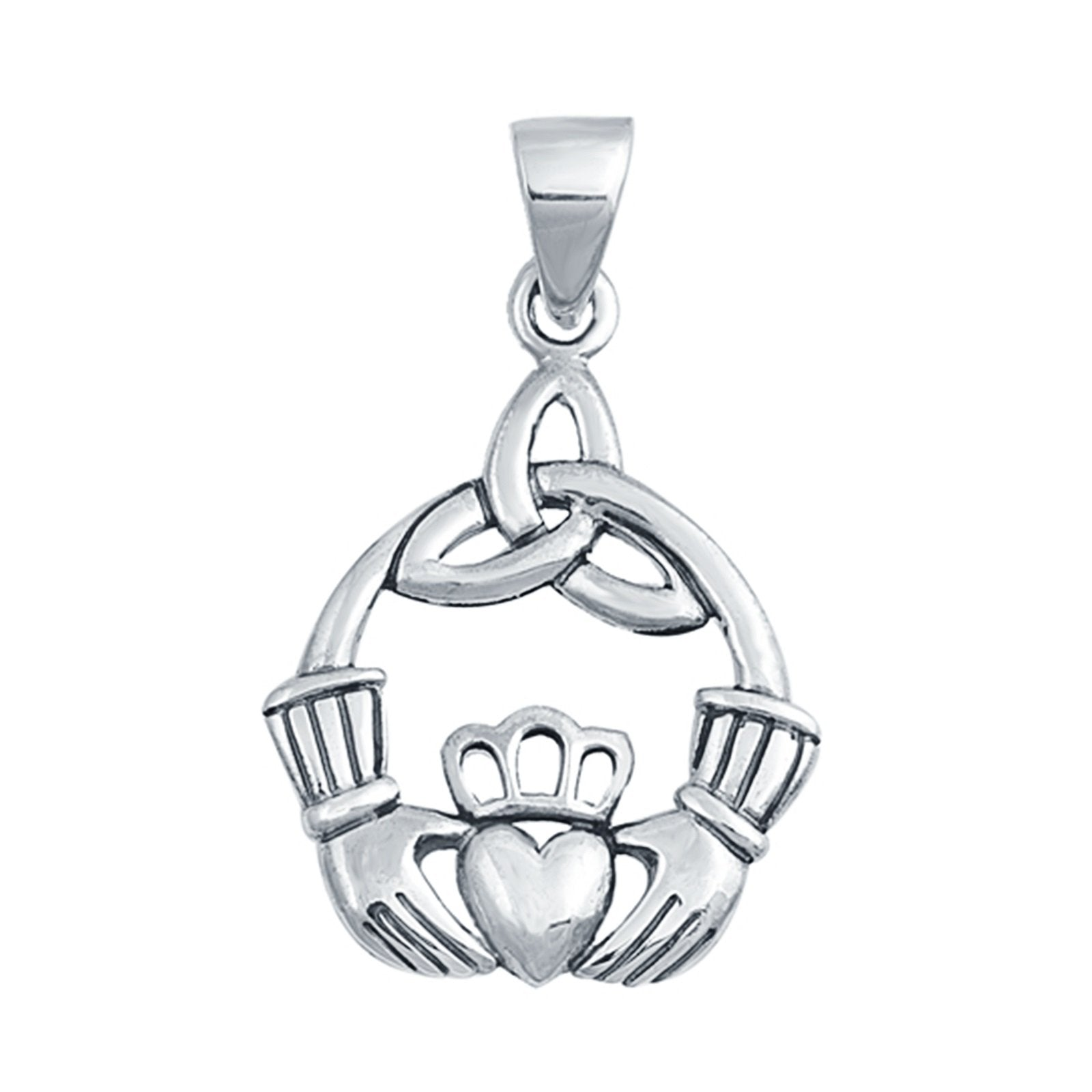 Celtic Claddagh Pendant Charm 925 Sterling Silver Fashion Jewelry