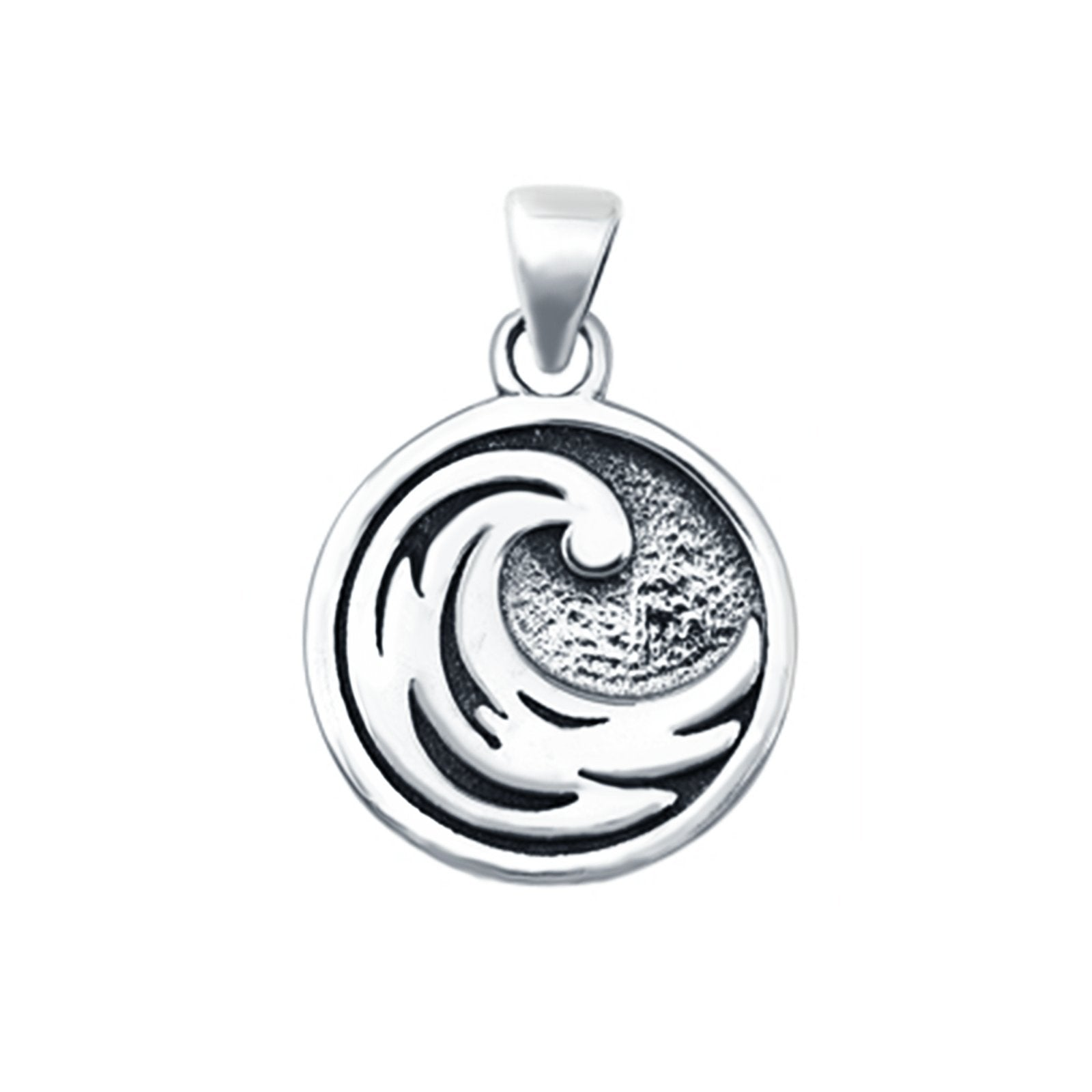 Round Wave Plain Pendants 925 Sterling Silver