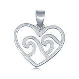Waves in Heart Charm Pendant 925 Sterling Silver