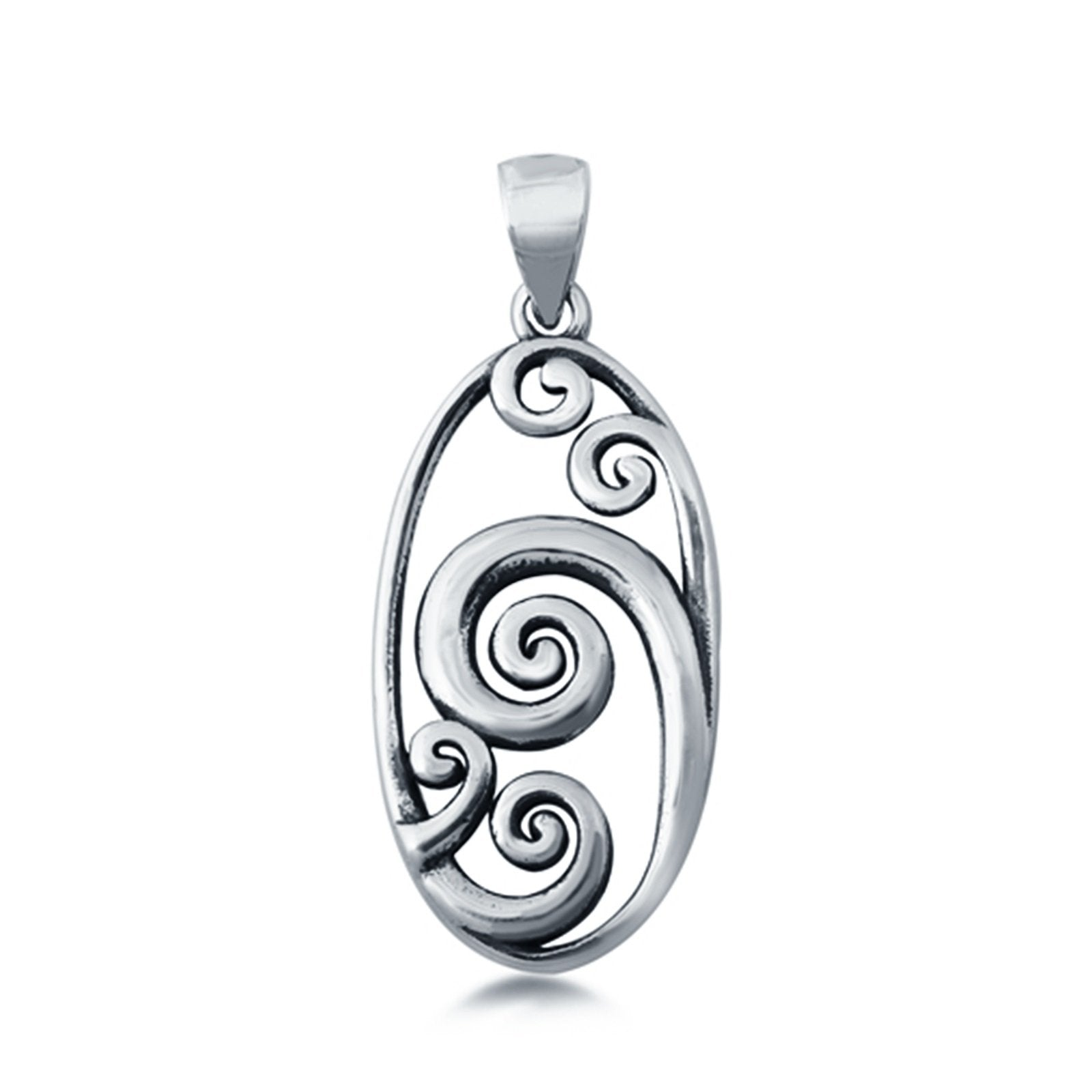 Silver Waves Pendant Charm 925 Sterling Silver Fashion Jewelry (23mm)