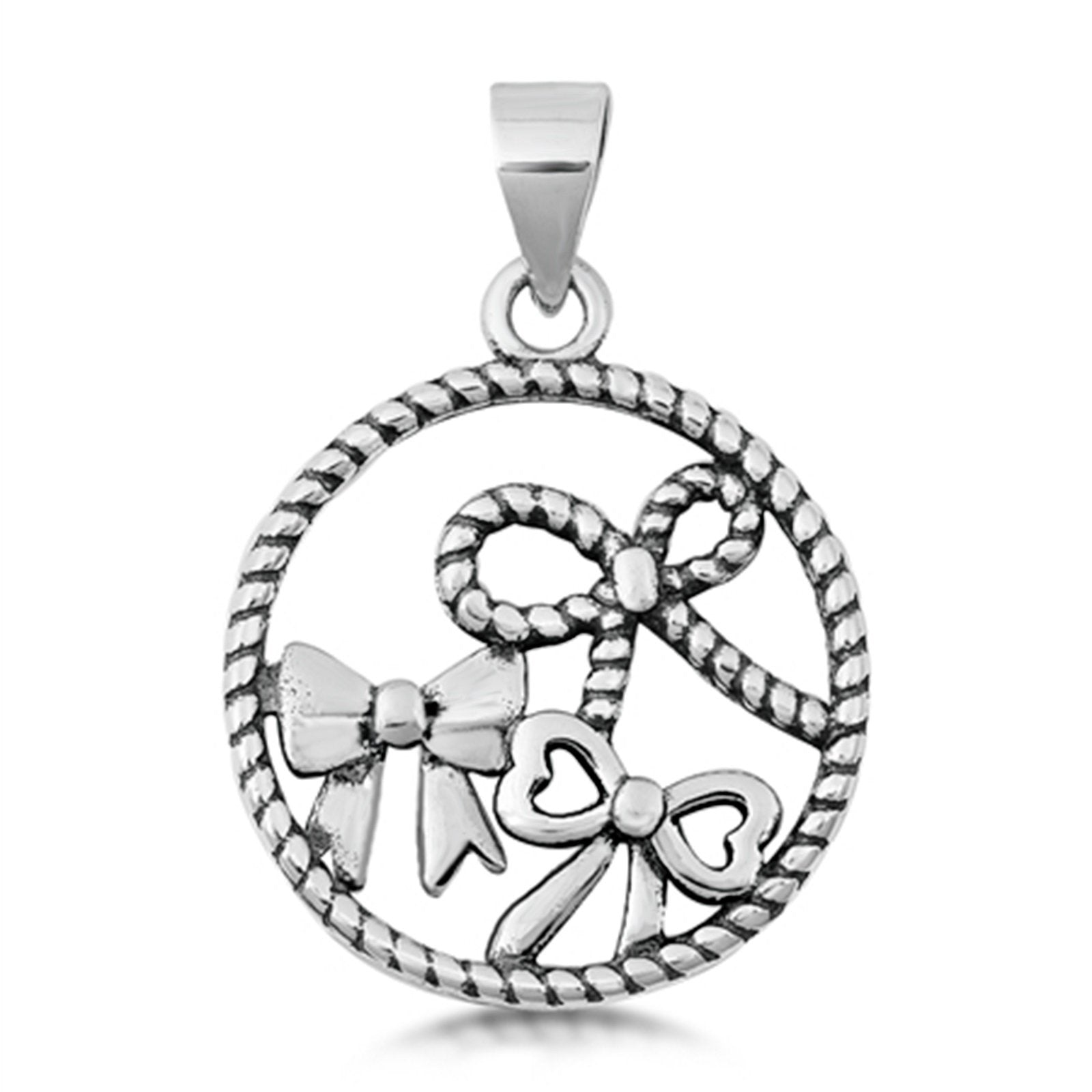 Bows Pendant Charm 925 Sterling Silver Fashion Jewelry