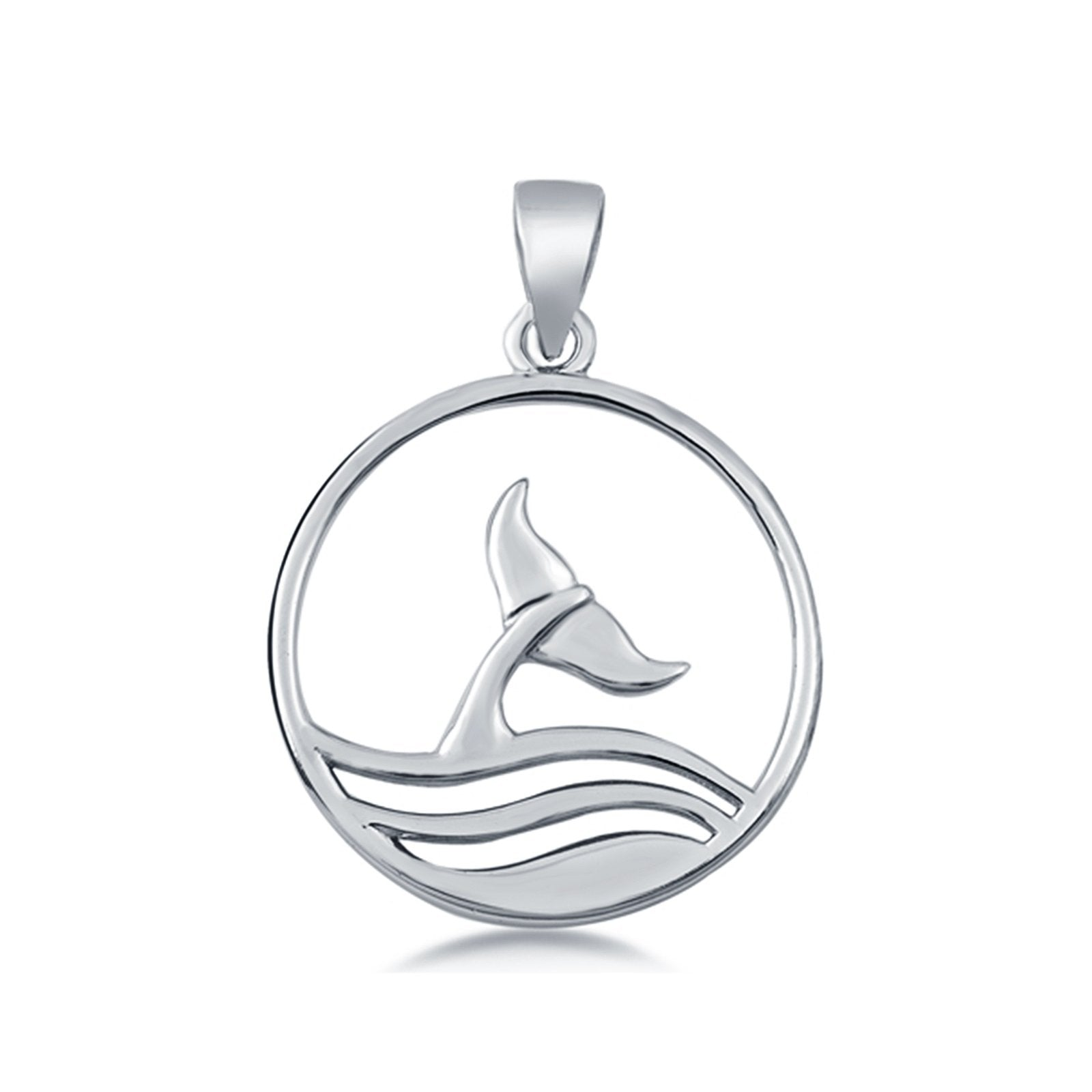 Sterling Silver Whale Tail Pendant Charm 925 Sterling Silver (23mm)