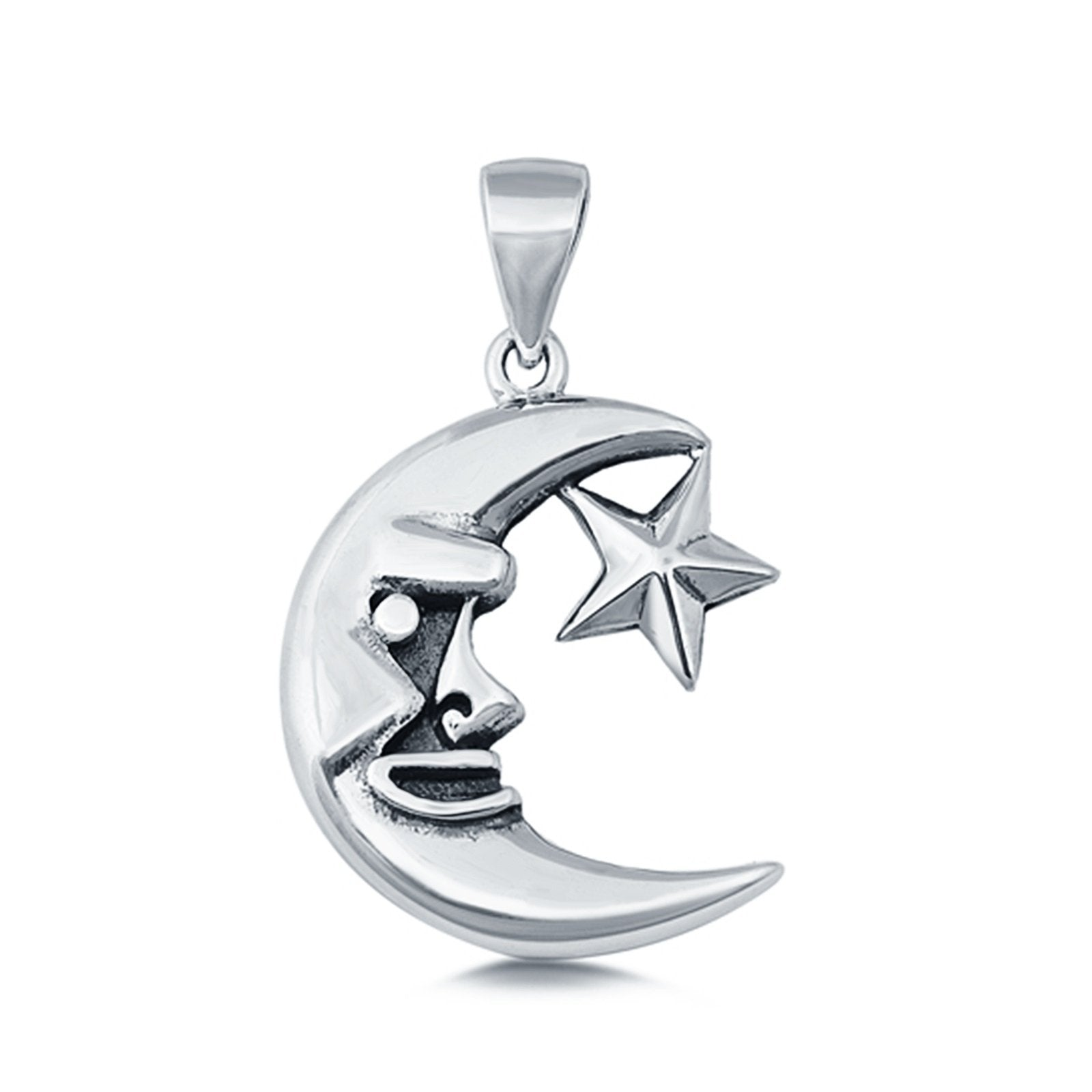Sterling Silver Crescent Moon & Star Pendant Charm 925 Sterling Silver (19mm)