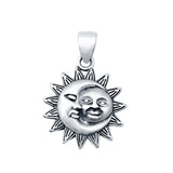 Silver Moon and Sun Pendant Charm 925 Sterling Silver (16mm)