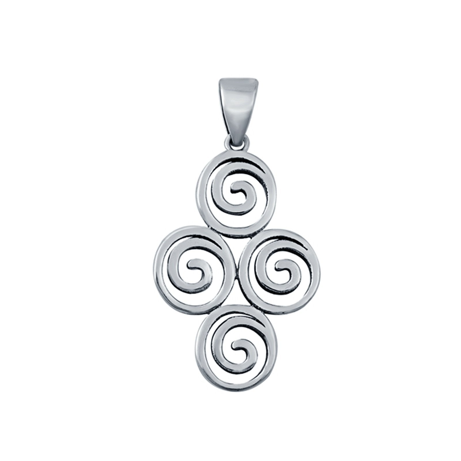 Fashion Jewelry Swirls Charm Pendant 925 Sterling Silver (26mm)