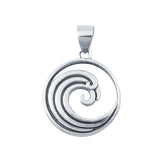 925 Sterling Silver Wave Plain Pendants Fashion Jewelry Gift