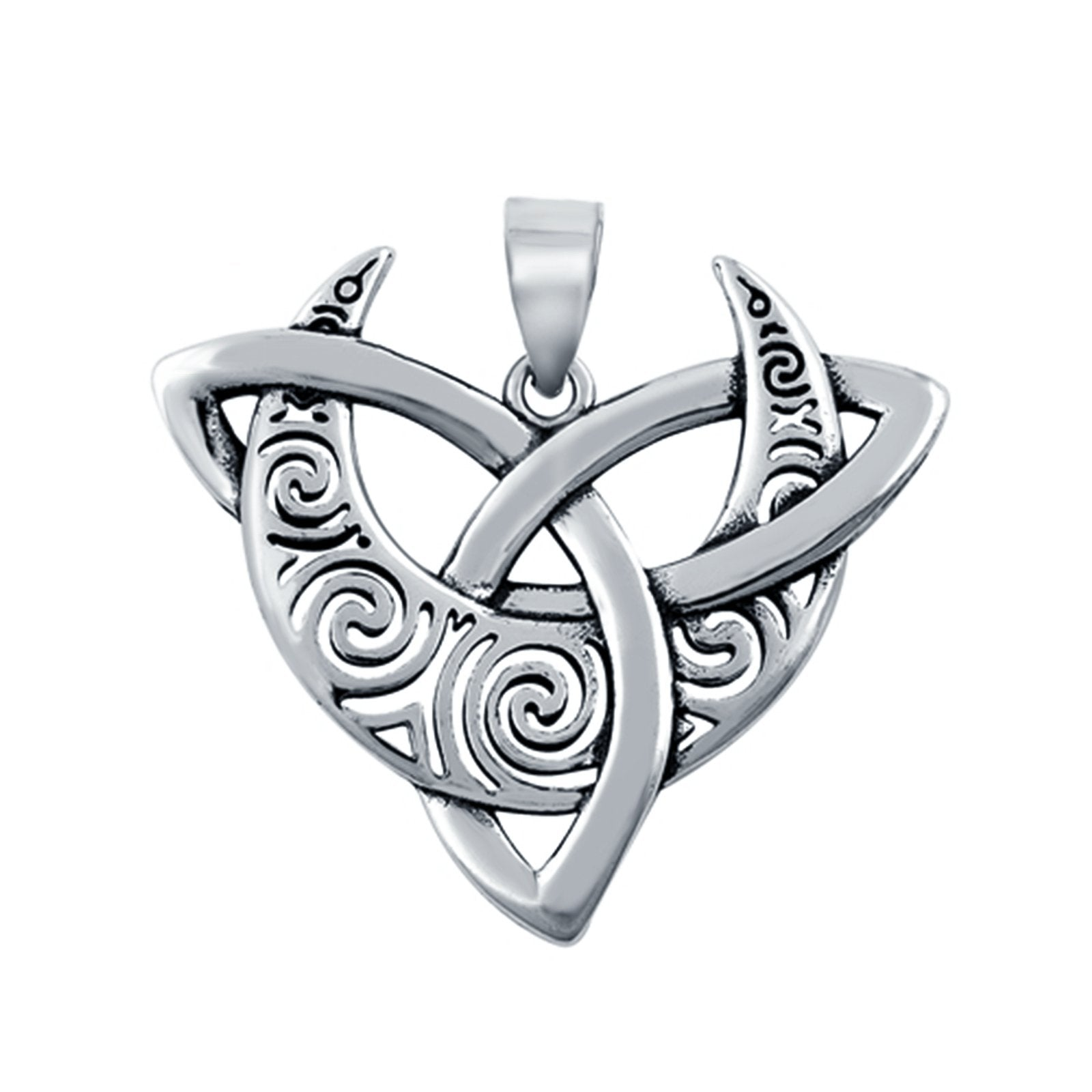 925 Sterling Silver Triskelion Moon Charm Pendant Fashion Jewelry