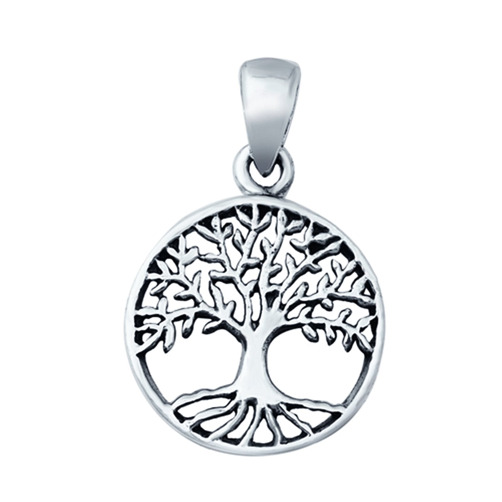 Tree of Life Pendant Charm Round 925 Sterling Silver