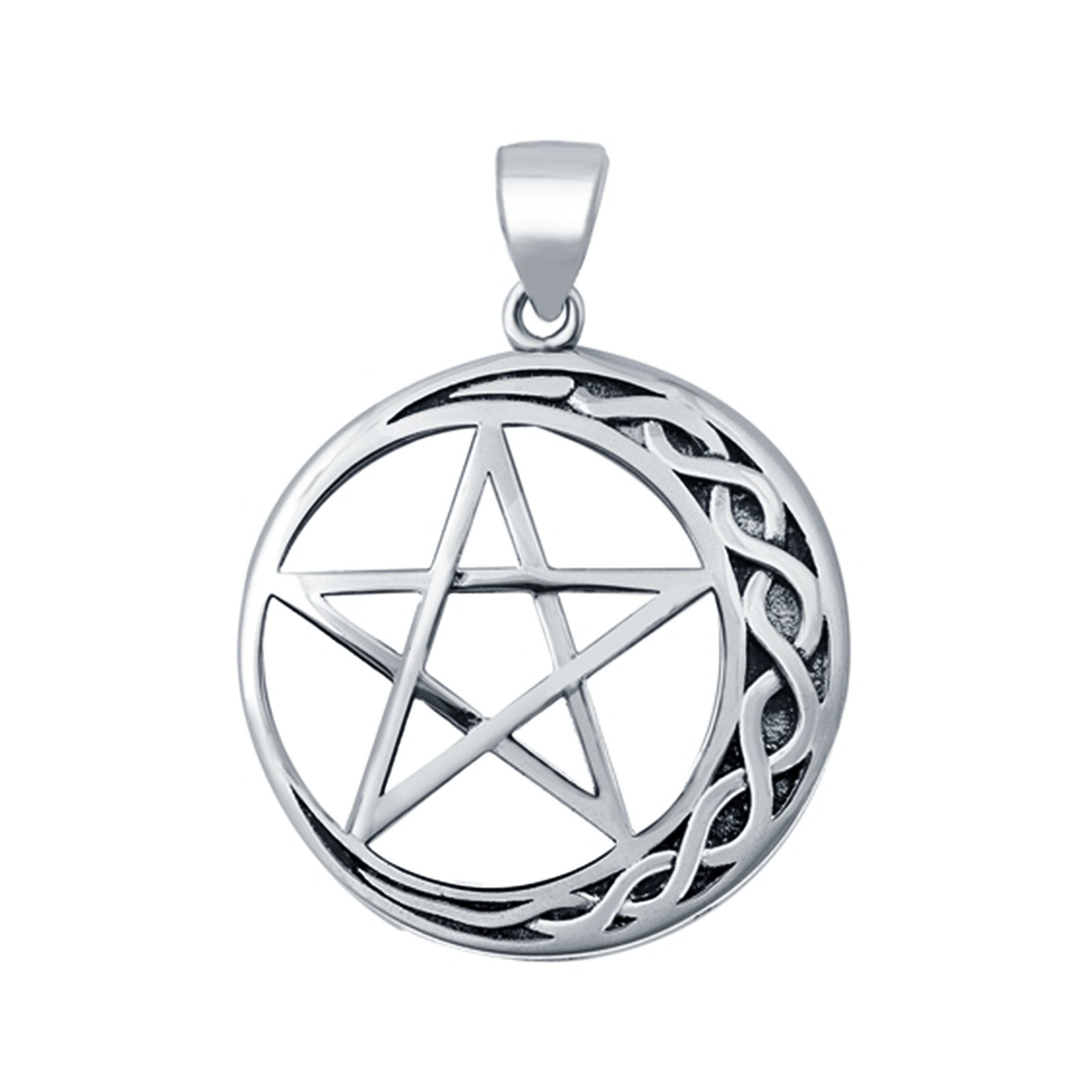 Moon and Star Pendant Charm Round 925 Sterling Silver