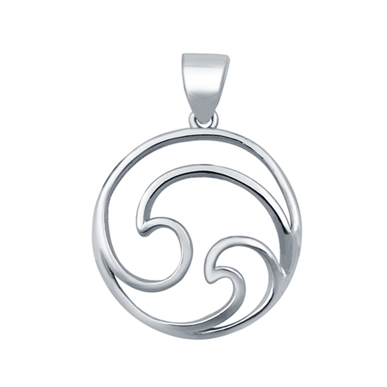 Wave Pendant Charm 925 Sterling Silver Fashion Jewelry