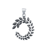 Bali Fern Charm Pendant Round 925 Sterling Silver