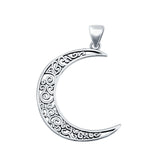 Crescent Moon Charm Pendant Round 925 Sterling Silver Fashion Jewelry