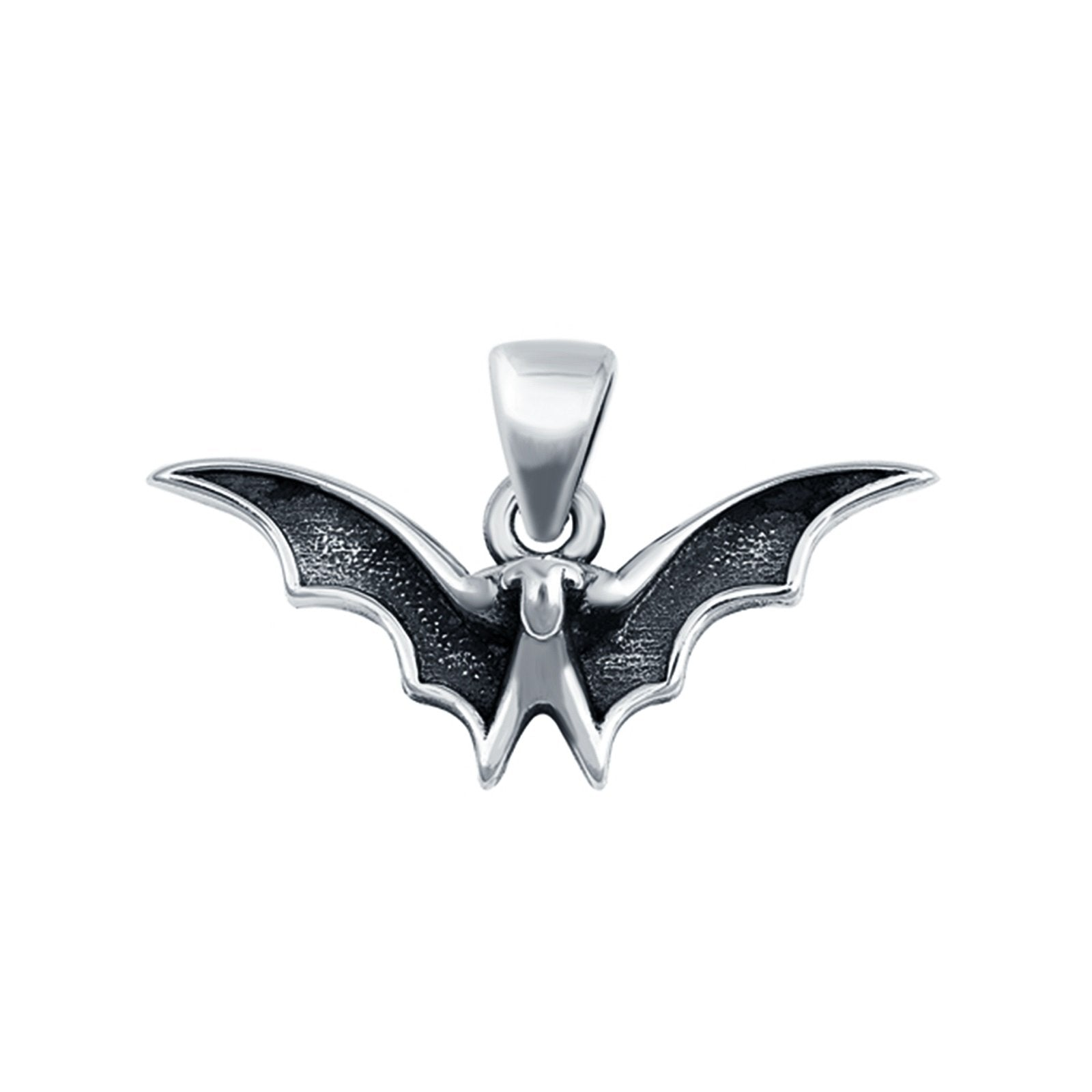 Bat Pendant Charm Round 925 Sterling Silver