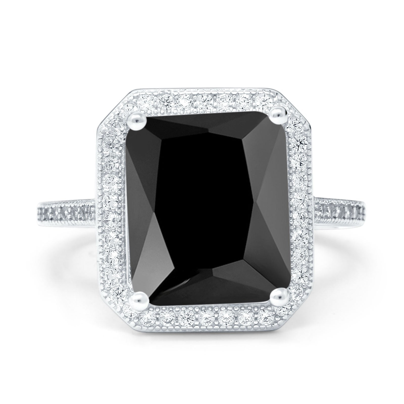 Halo Emerald Cut Engagement Ring Simulated Cubic Zirconia 925 Sterling Silver