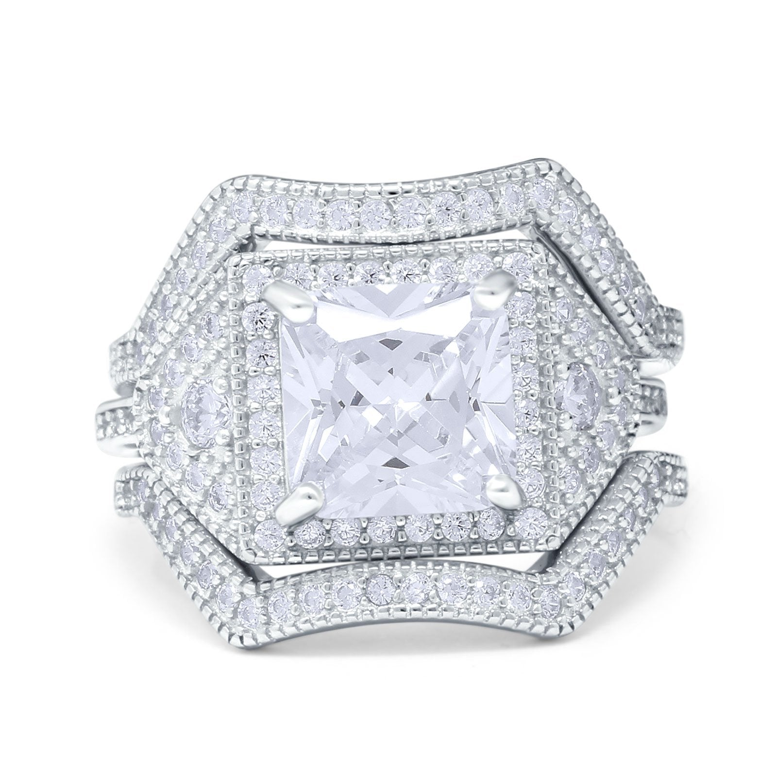 Princess Cut Vintage Art Deco Three Piece Bridal Set Wedding Ring Band Round Simulated Cubic Zirconia 925 Sterling Silver