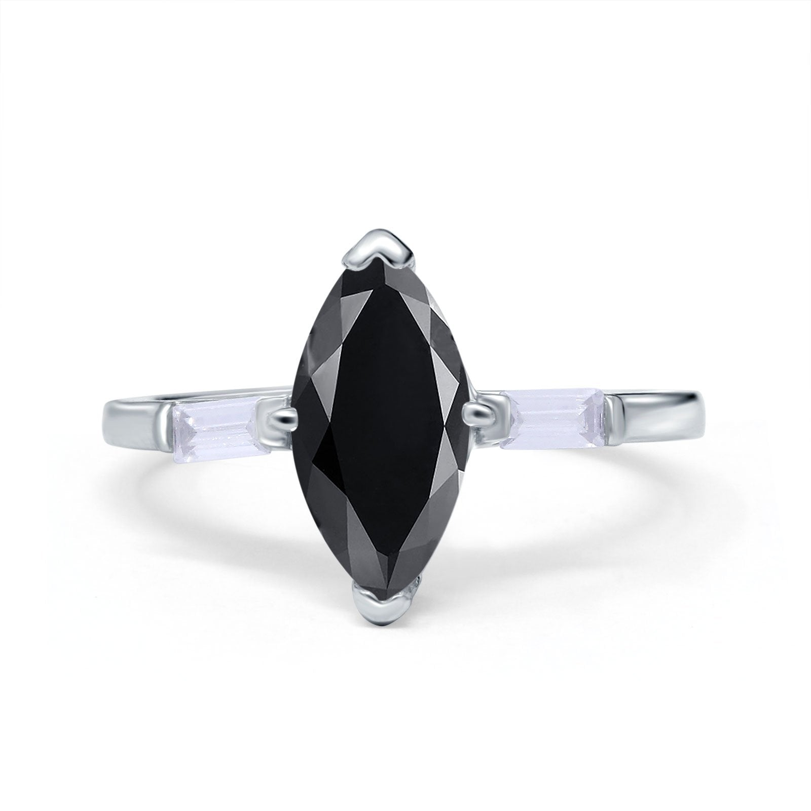 Marquise Art Deco Engagement Simulated Cubic Zirconia Ring 925 Sterling Silver