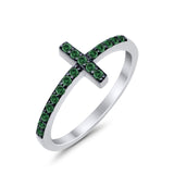 Wedding Eternity Sideways Cross Rings Simulated CZ 925 Sterling Silver