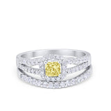 Halo Two Piece Engagement Ring Simulated Cubic Zirconia 925 Sterling Silver