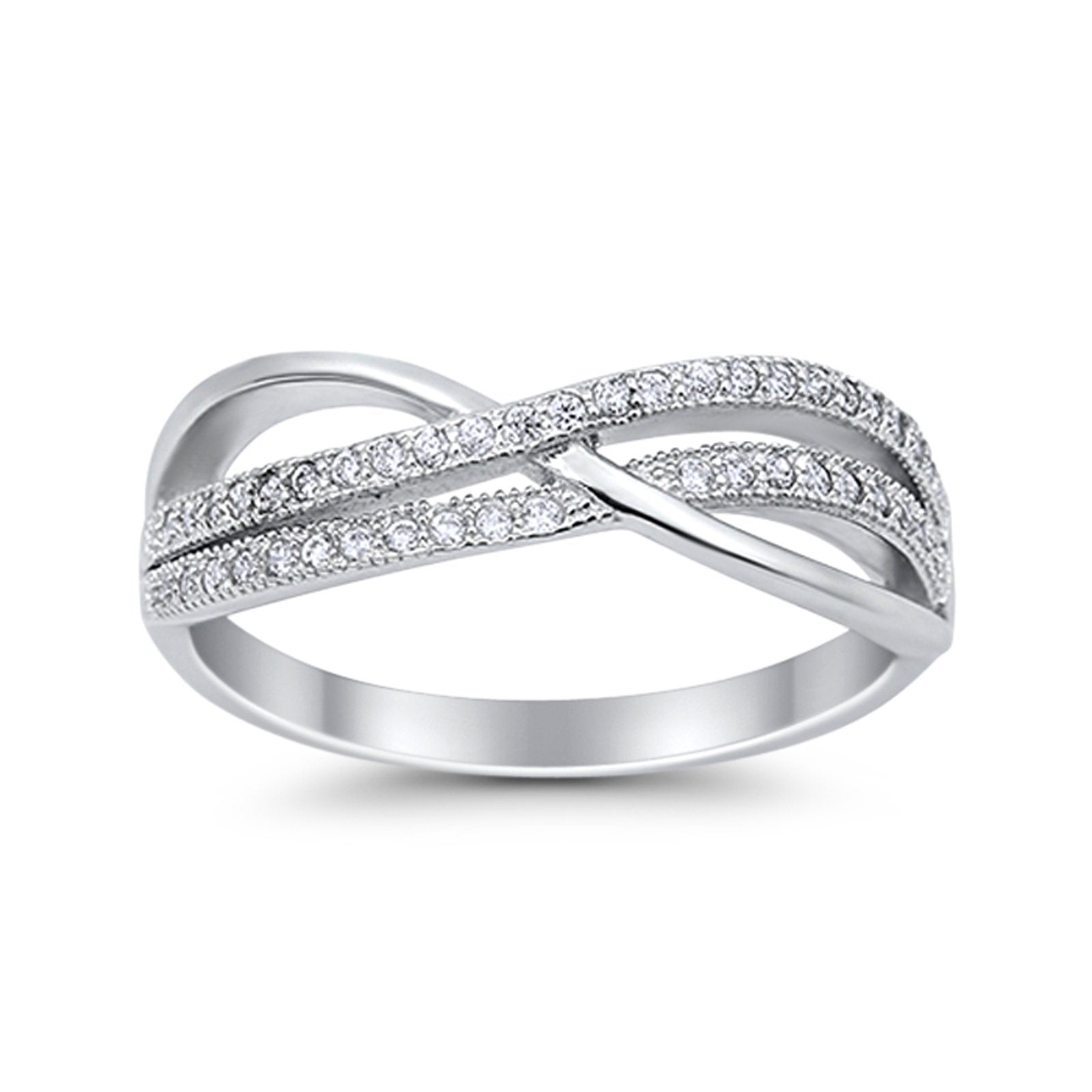 Crisscross Infinity Rings Eternity Simulated CZ 925 Sterling Silver