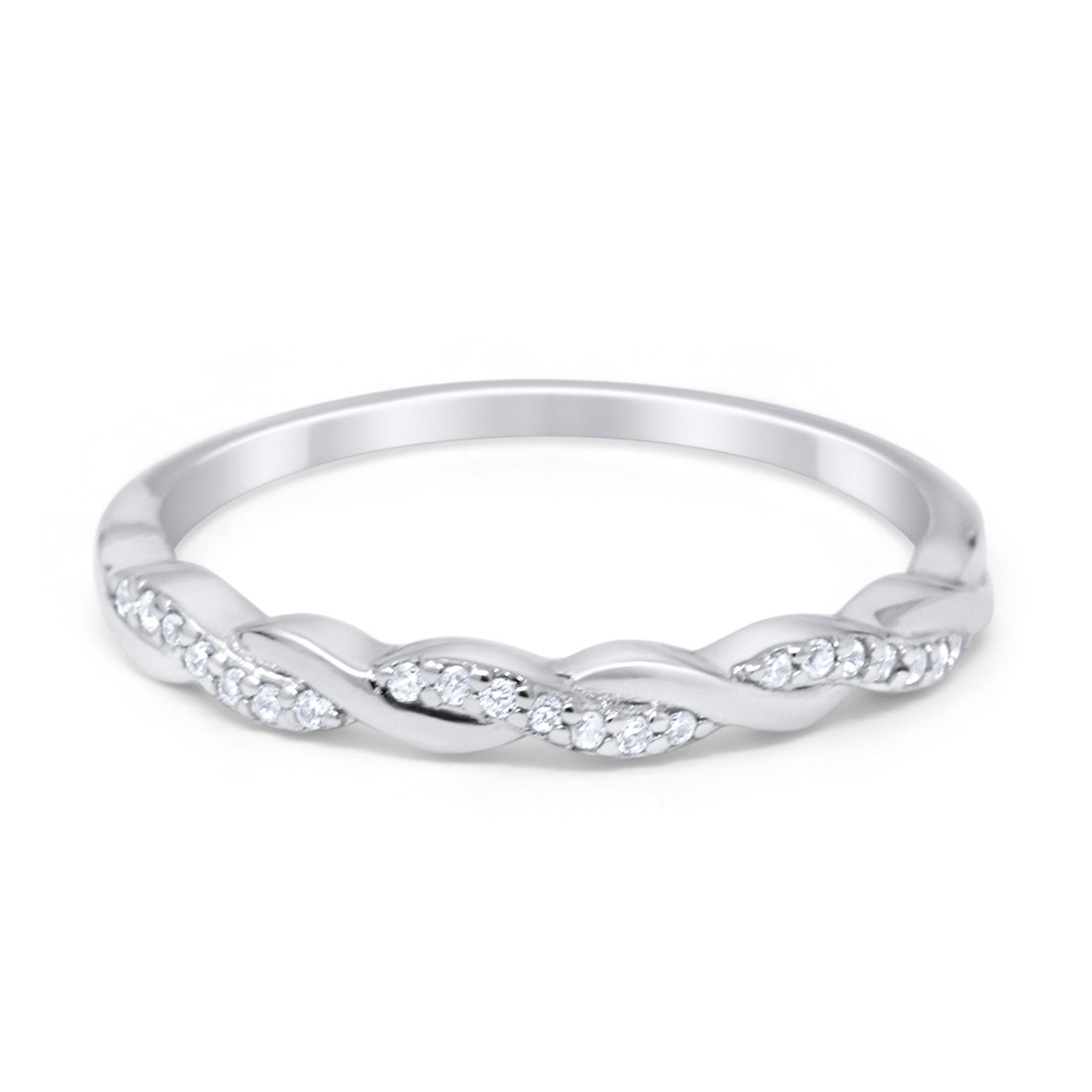 Half Eternity Infinity Twisted Band Rings Simulated CZ 925 Sterling Silver