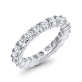 Full Eternity Stackable Wedding Band Ring Simulated CZ 925 Sterling Silver