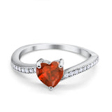 Heart Promise Ring Simulated Round Cubic Zirconia 925 Sterling Silver