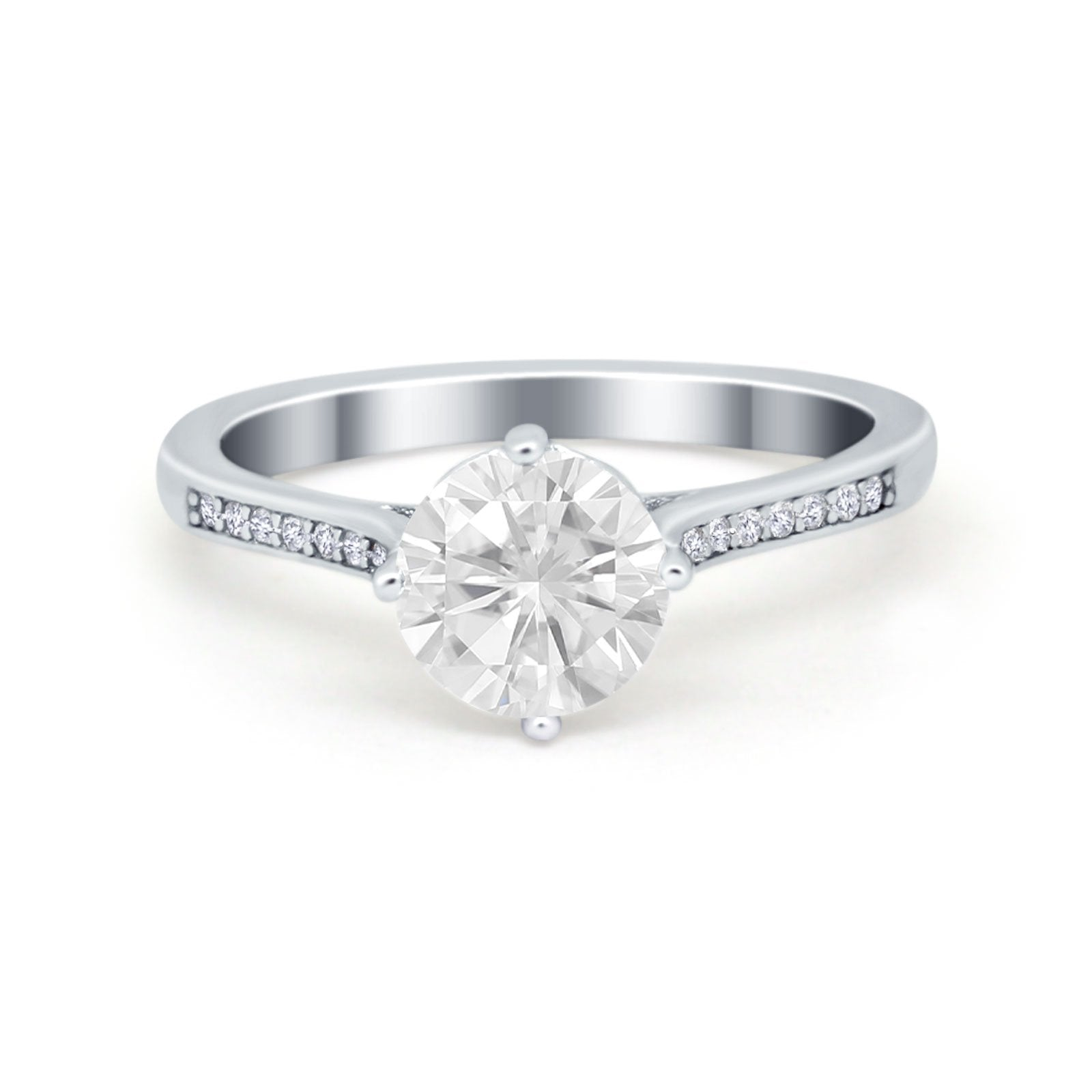 Solitaire Art Deco Wedding Ring Round Simulated Cubic Zirconia 925 Sterling Silver