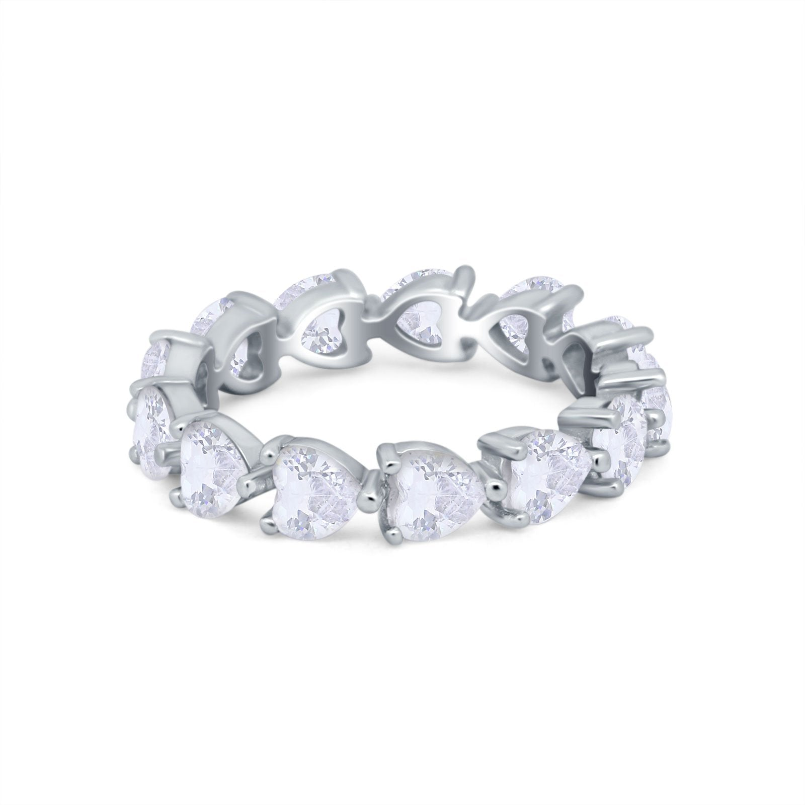 Eternity Stackable Wedding Bridal Ring Heart Simulated CZ 925 Sterling Silver