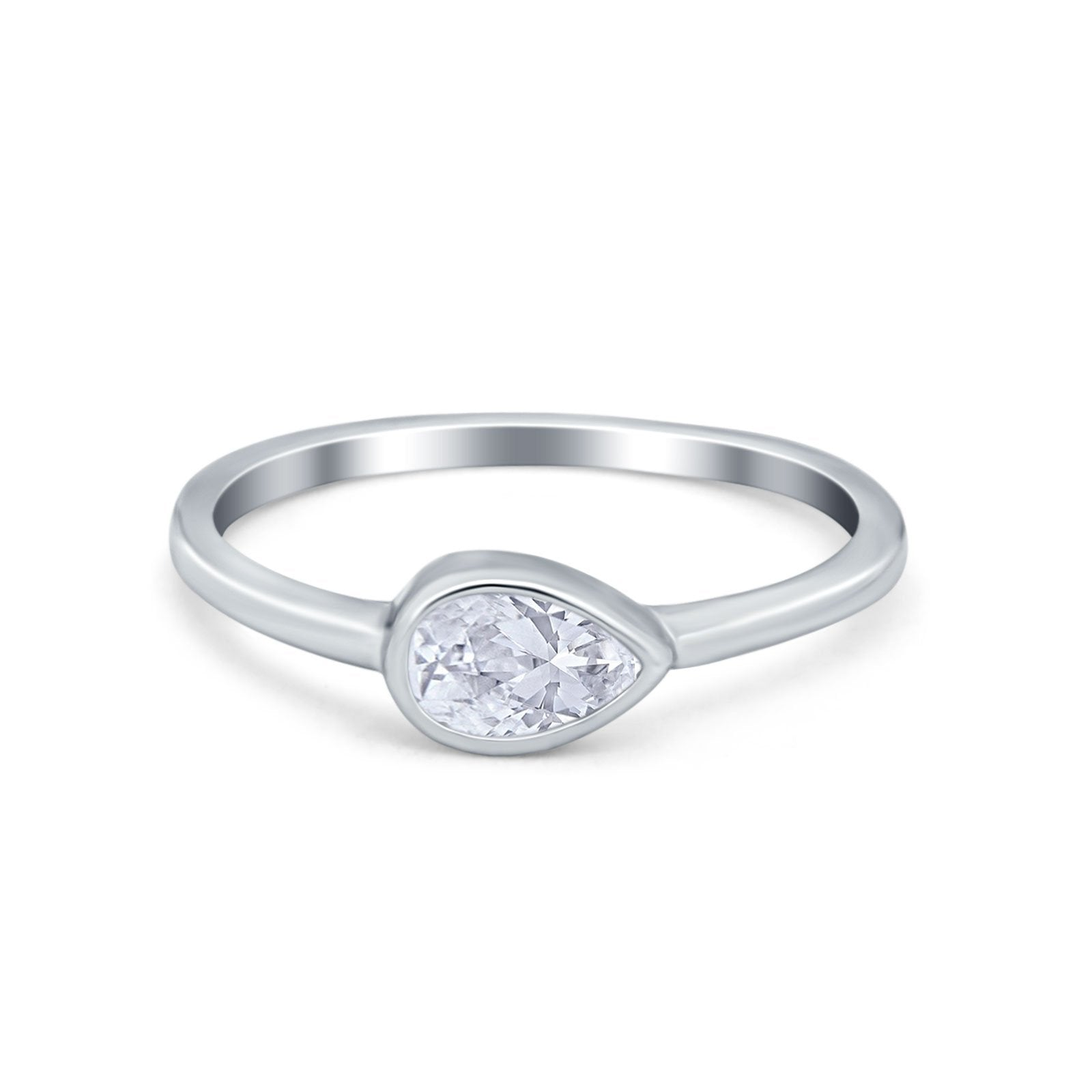 Pear Solitaire Wedding Ring Bezel Simulated Cubic Zirconia 925 Sterling Silver
