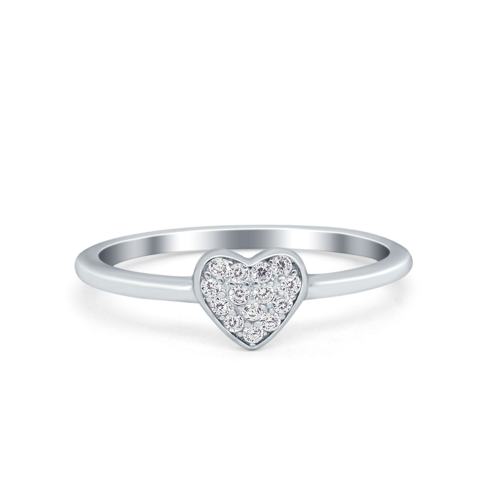 Heart Promise Ring Pave Round Simulated Cubic Zirconia 925 Sterling Silver