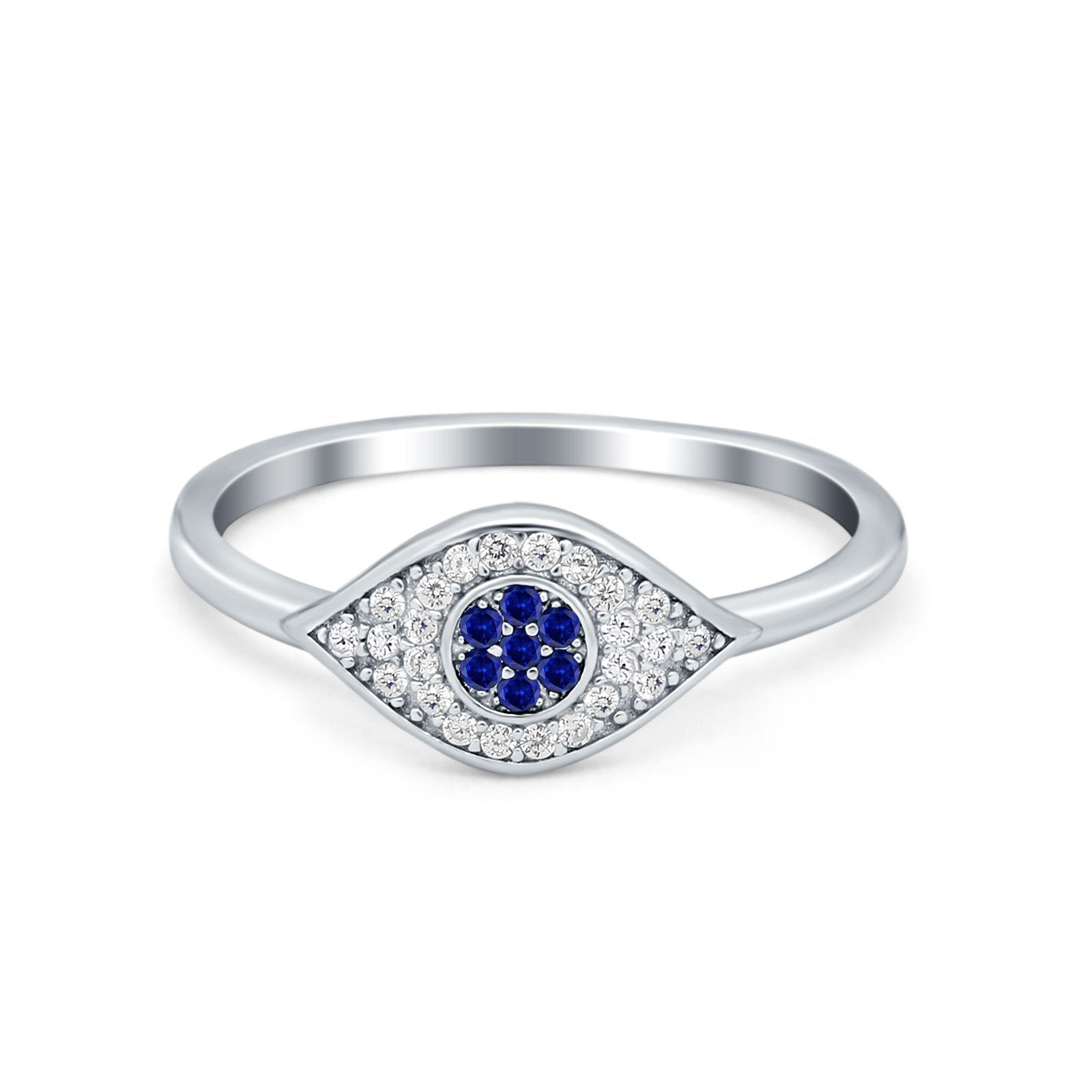 Evil Eye Ring Pave Simulated Blue Sapphire Cubic Zirconia 925 Sterling Silver