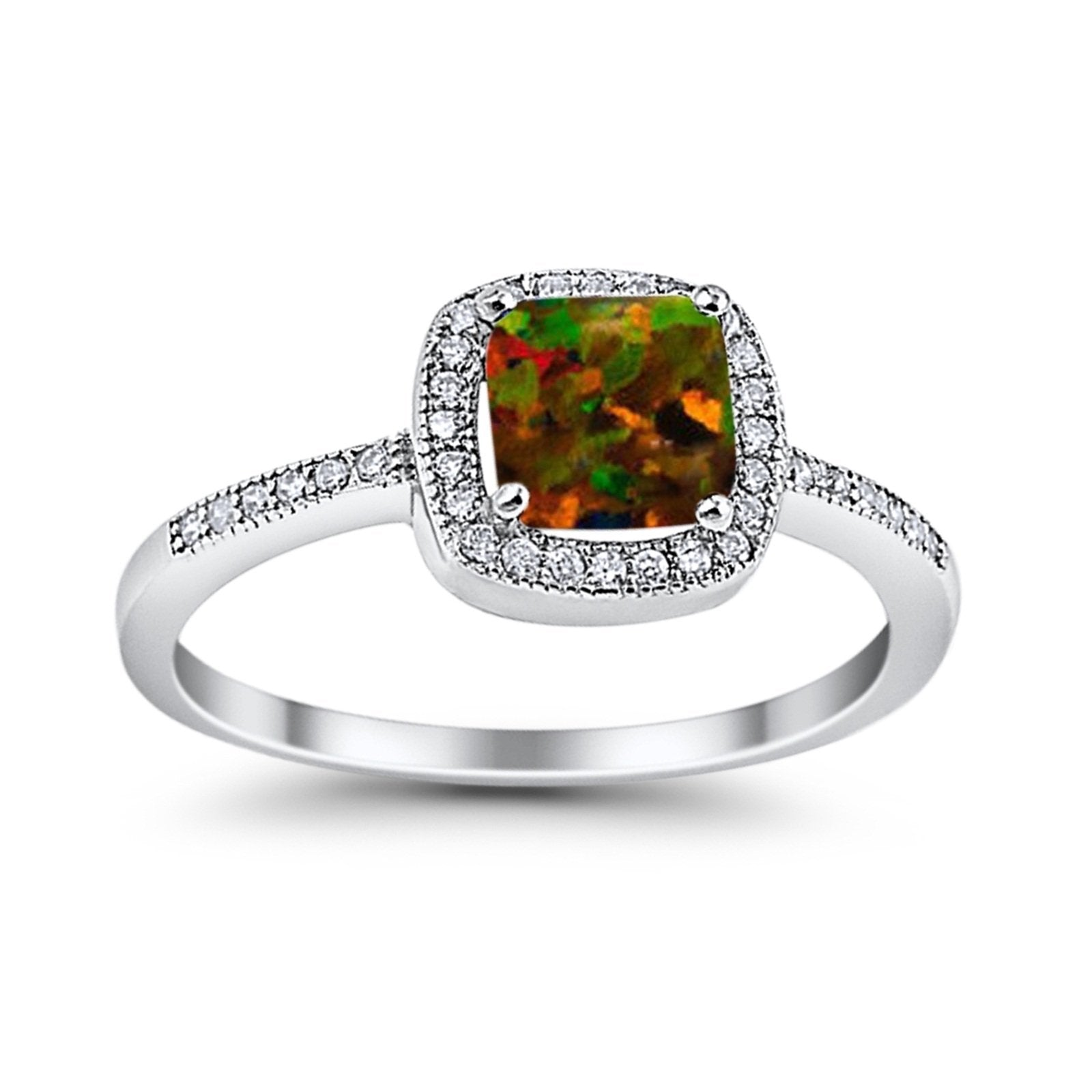 Halo Accent Engagement Ring Simulated Cubic Zirconia 925 Sterling Silver