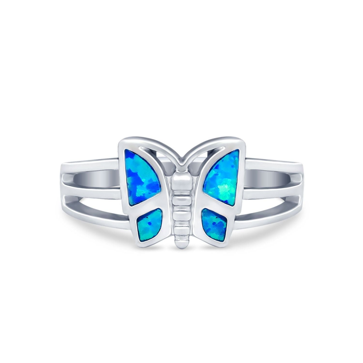 Butterfly Ring Statement Round Simulated Cubic Zirconia 925 Sterling Silver