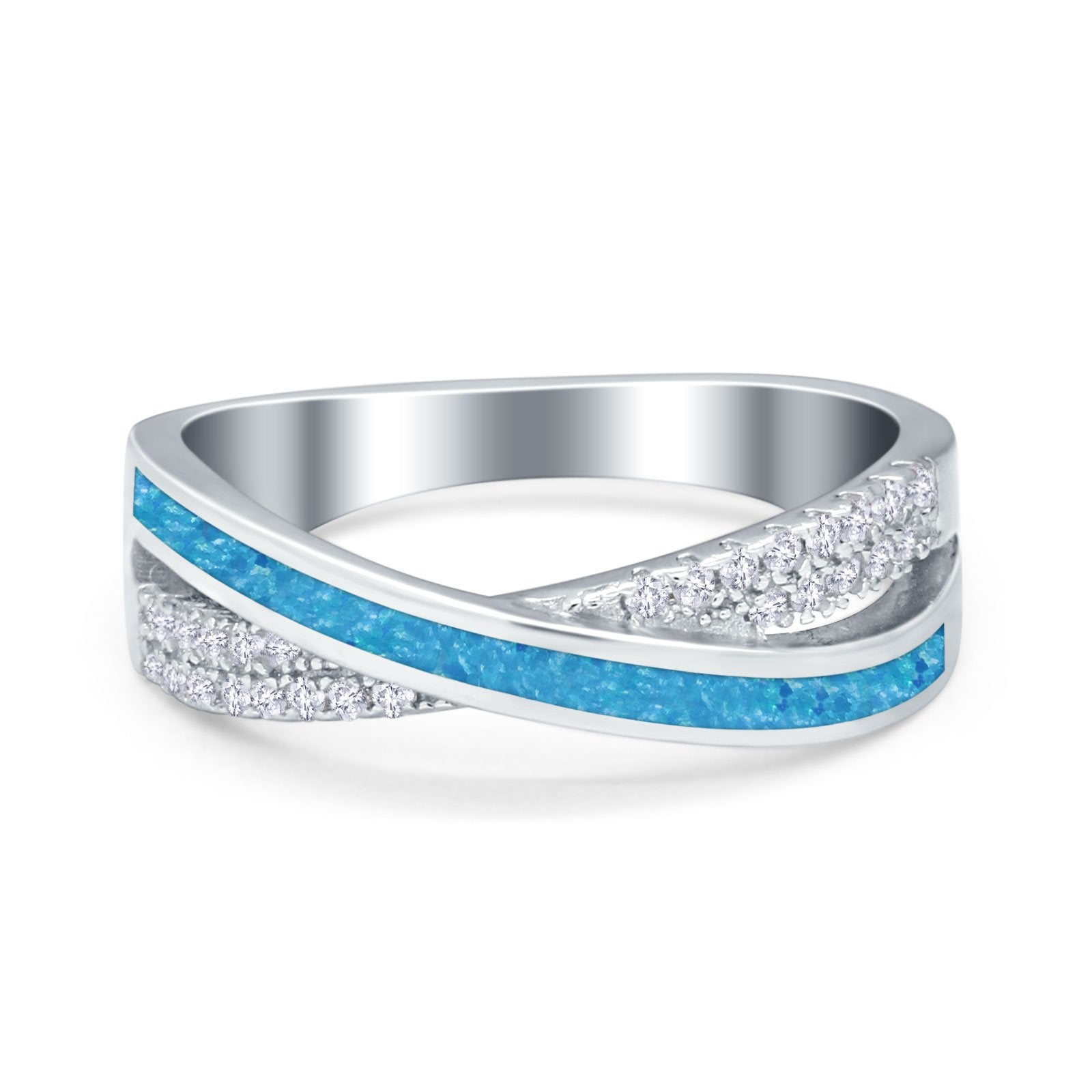 Infinity Crisscross Eternity Rings Simulated CZ Opal 925 Sterling Silver