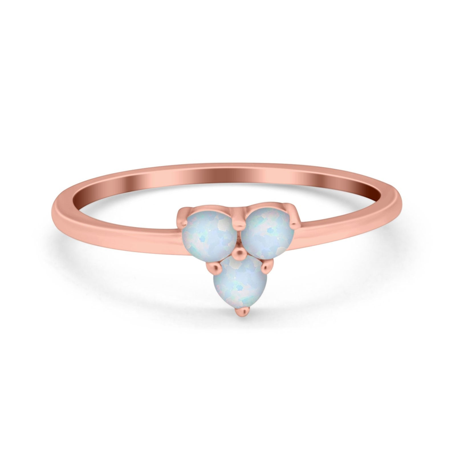 Fashion Thumb Ring Round Simulated Cubic Zirconia Opal 925 Sterling Silver