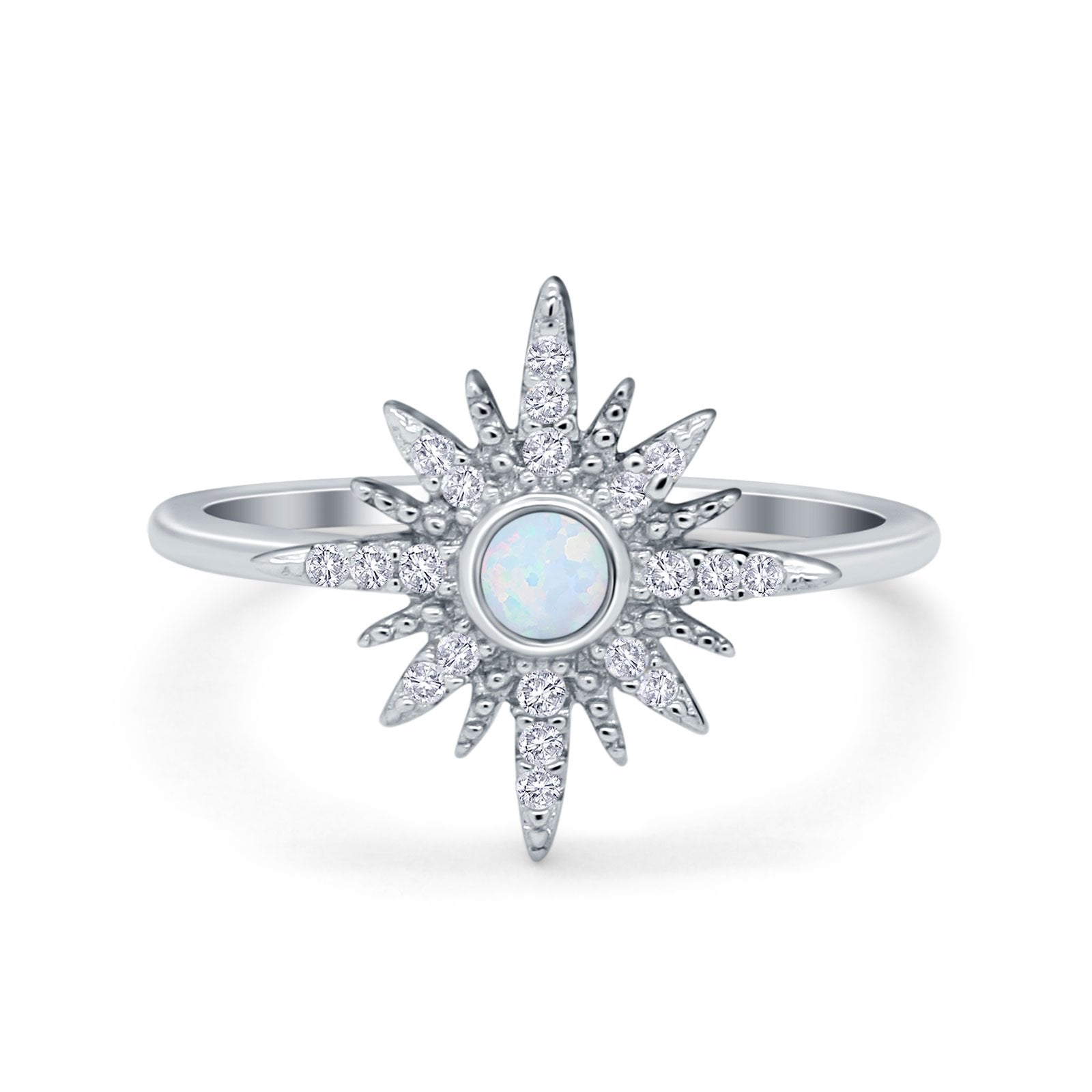 Cluster Starburst Opal Ring Round Simulated Cubic Zirconia 925 Sterling Silver