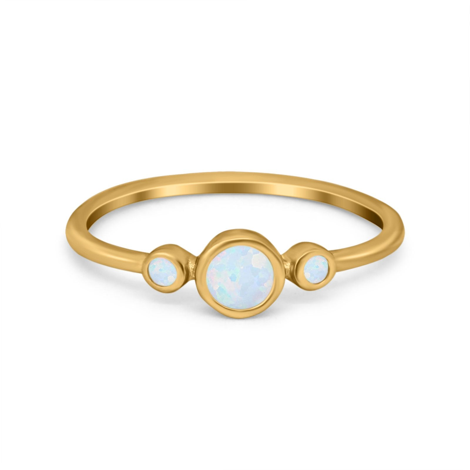 Fashion Style Band Ring Round Simulated Cubic Zirconia Opal 925 Sterling Silver