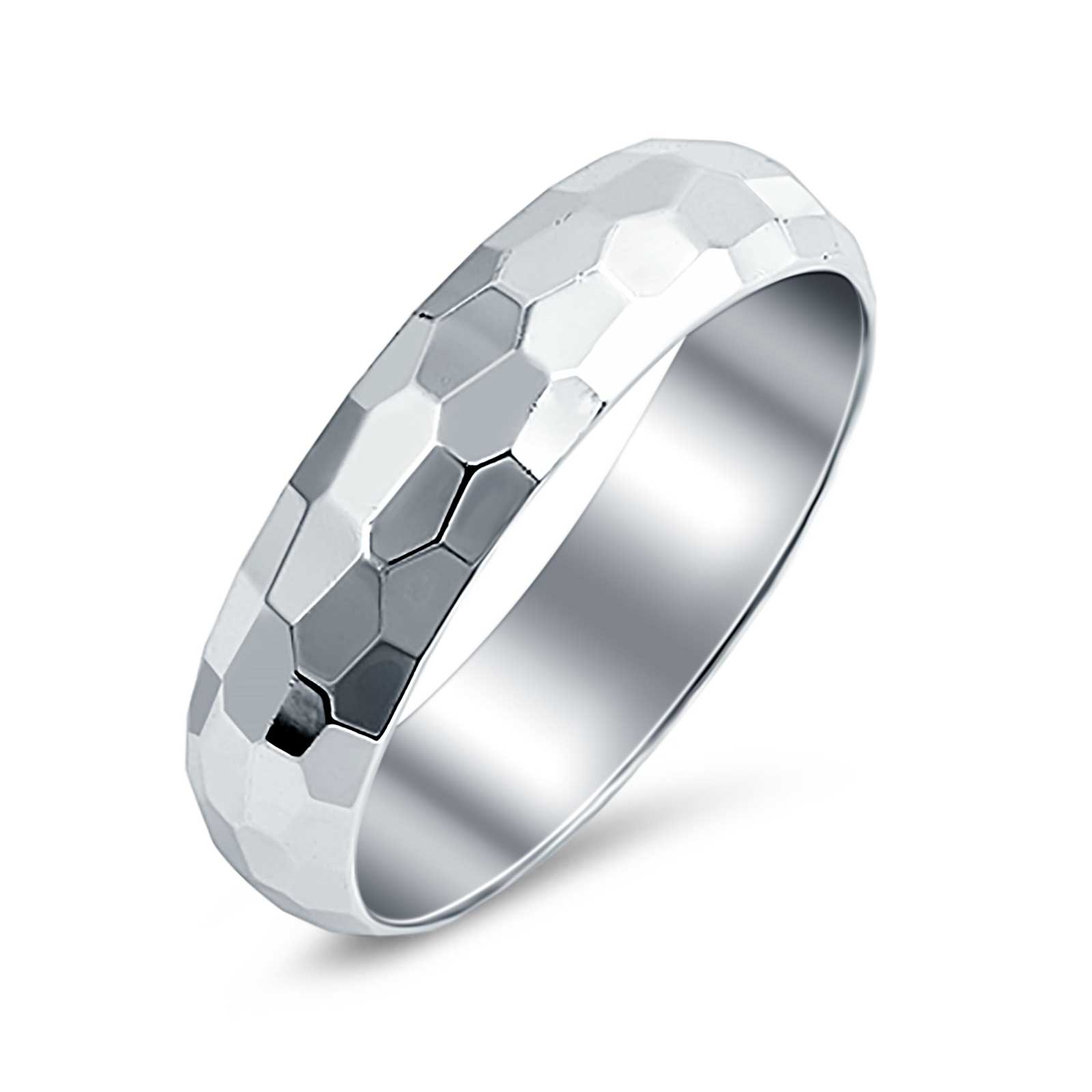 Hammered DC Style Wedding Band 925 Sterling Silver (5mm)