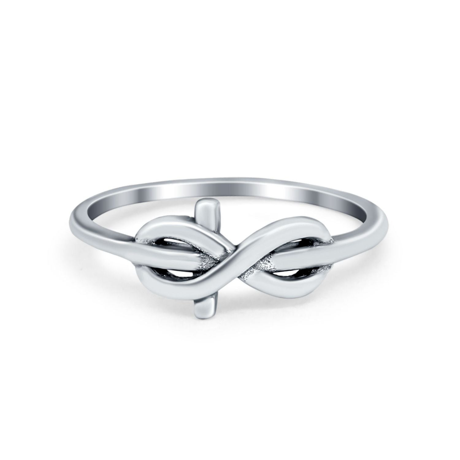 Tangled Knot Infinity Band Ring Thumb Ring Oxidized Round 925 Sterling Silver