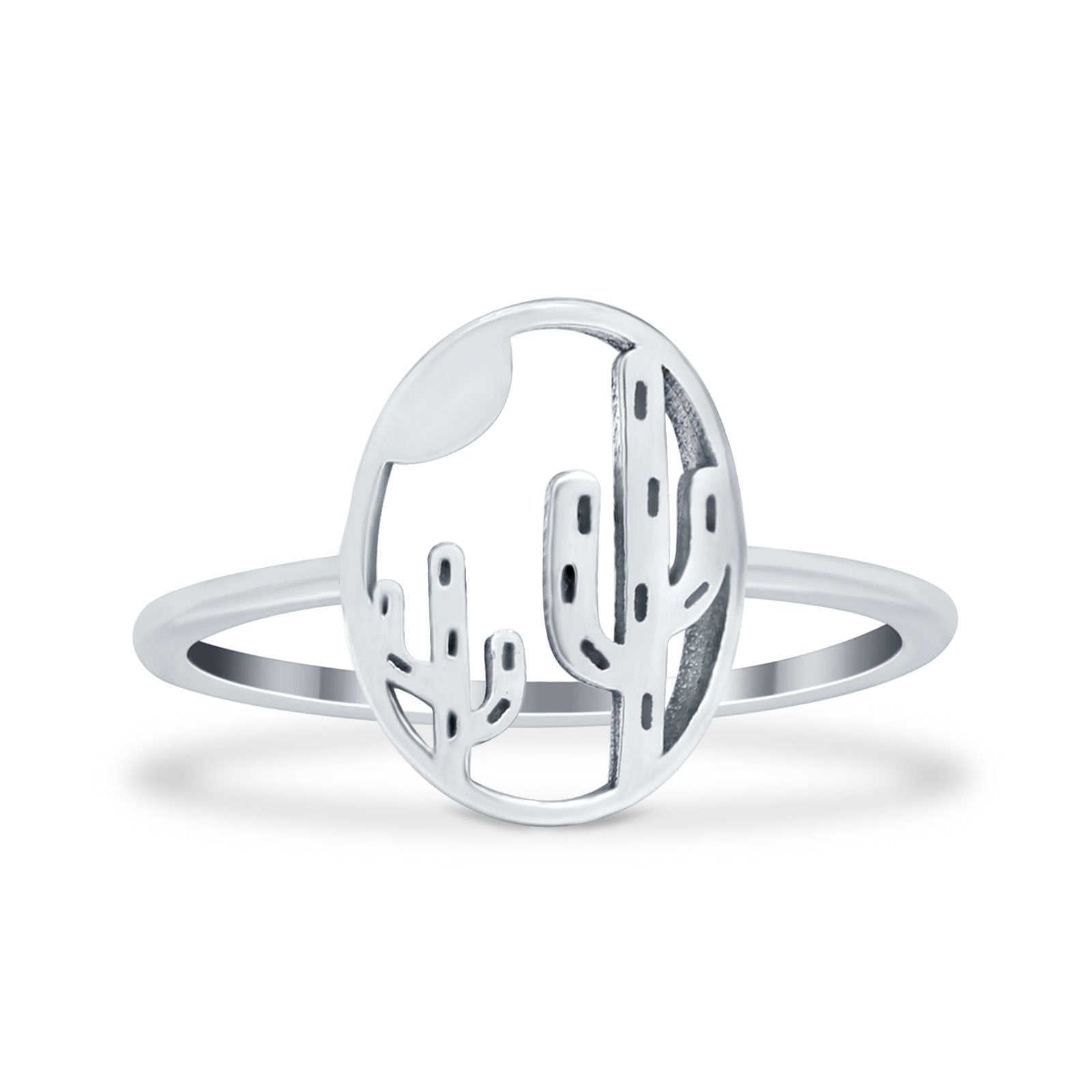 Cactus Plain Ring Band Round 925 Sterling Silver
