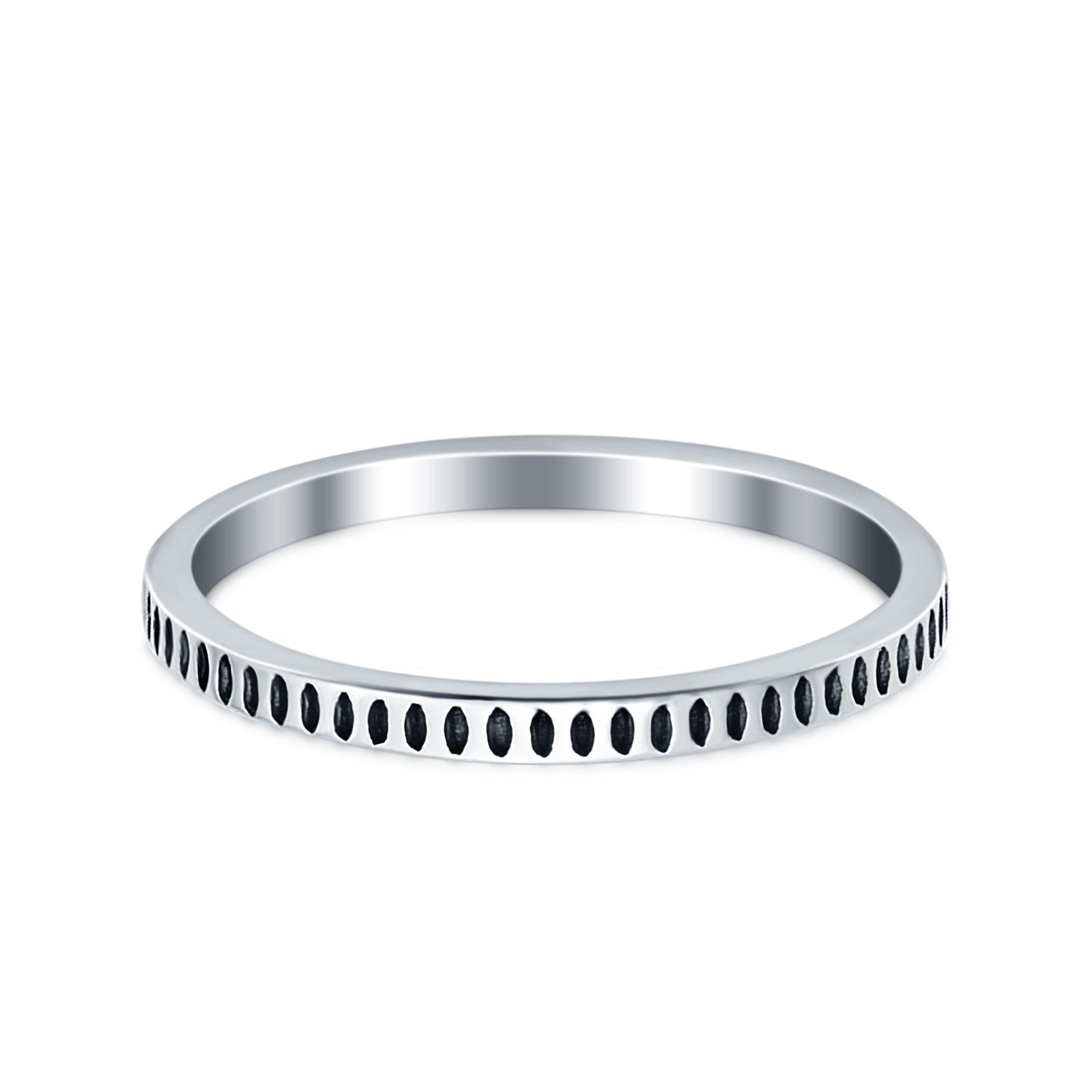 Oxidized Plain Band Ring 925 Sterling Silver