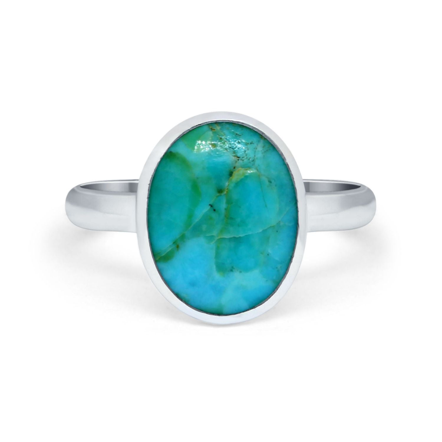 Solitaire Oval Simulated Turquoise Cubic Zirconia Ring Round 925 Sterling Silver